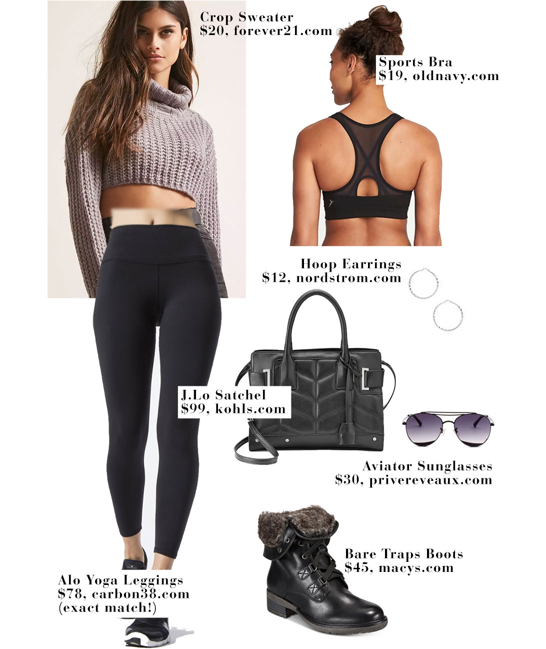 Jennifer Lopez wears a crop turtleneck sweater with Alo Yoga leggings and a Versace bag.