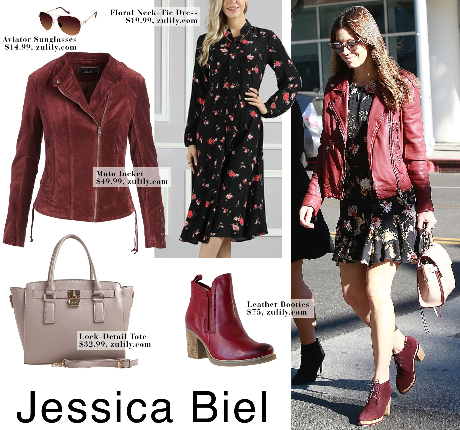 Jessica Biel wears a floral dress with a burgundy red moto jacket and Chanel lace up booties.