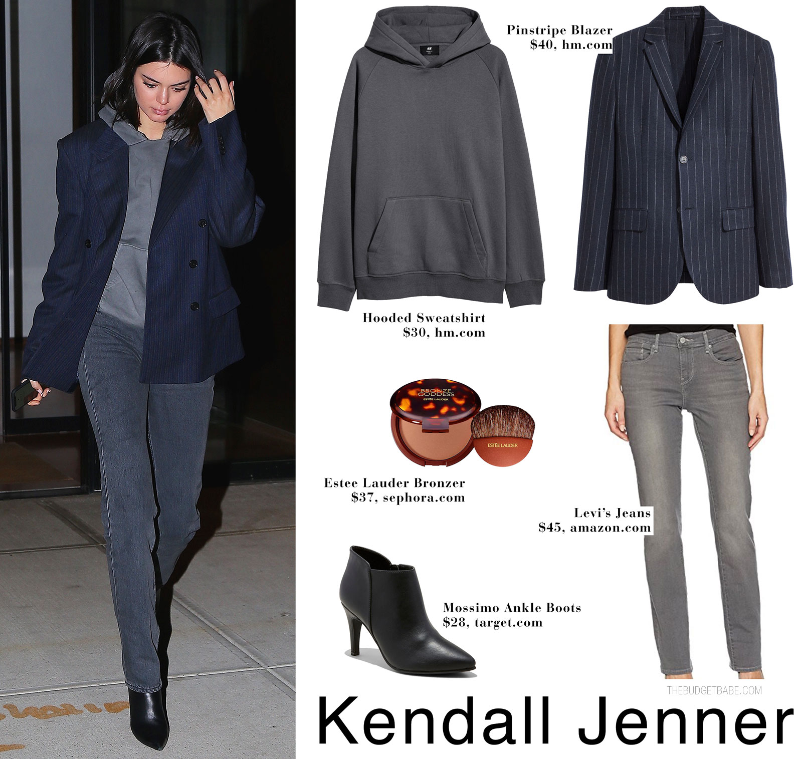 Kendall Jenner wears a pinstripe navy blazer with a hoodie, Yeezy jeans and Balenciaga boots