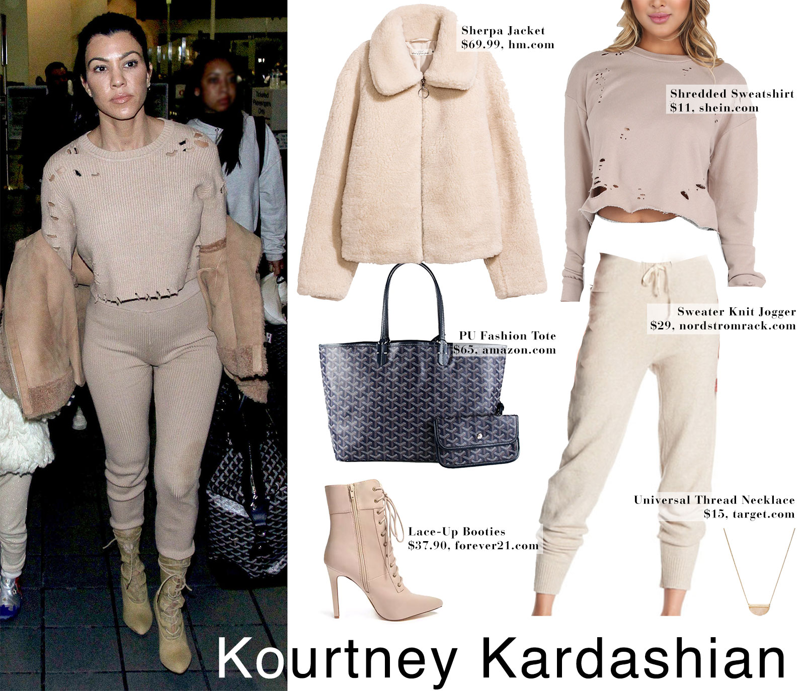 Kourtney Kardashian's beige fur jacket, shredded sweater, knit joggers and lace-up booties.