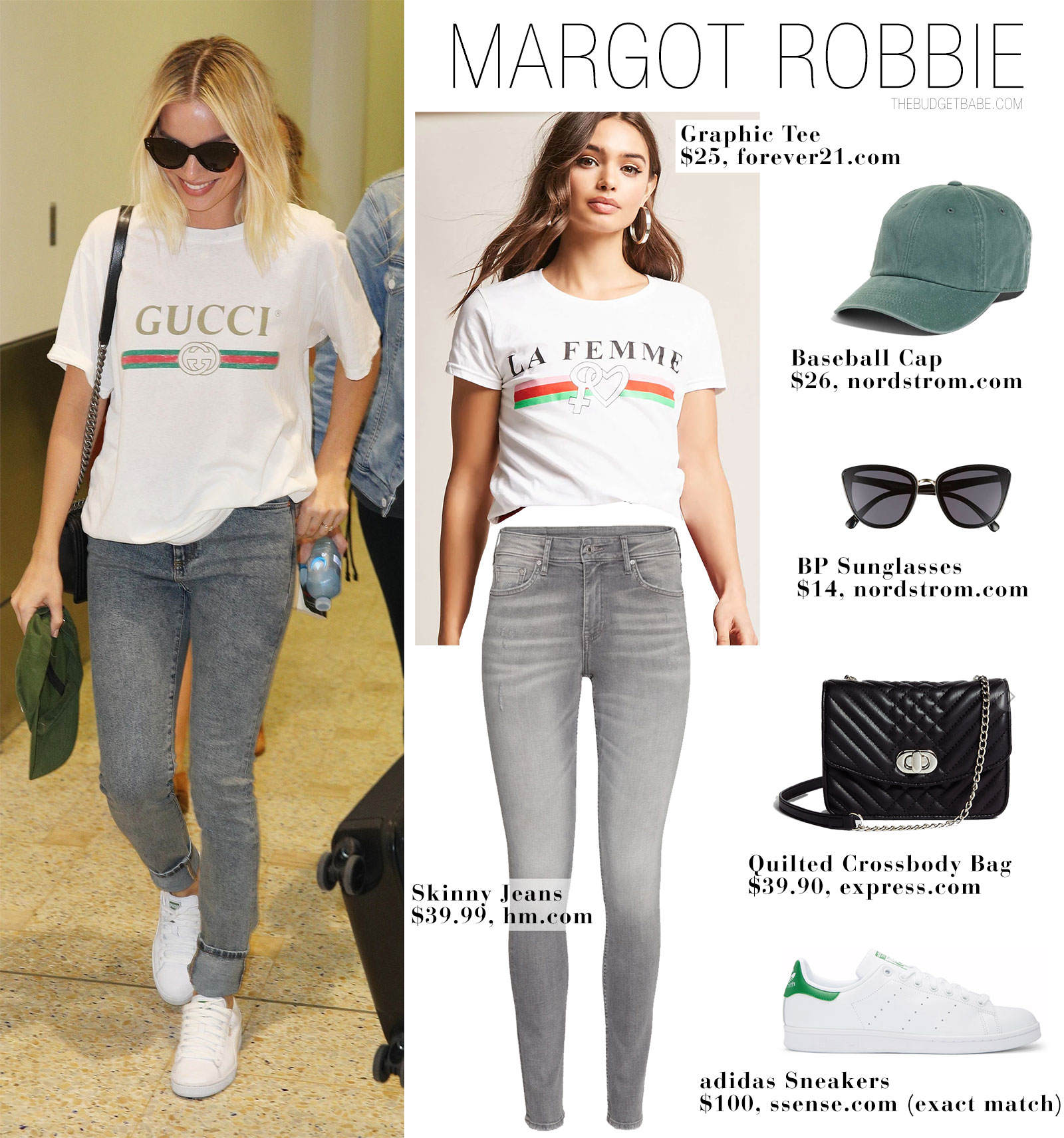 Margot Robbie wears a Gucci logo t-shirt with skinny jeans and Adidas Stan Smith sneakers.