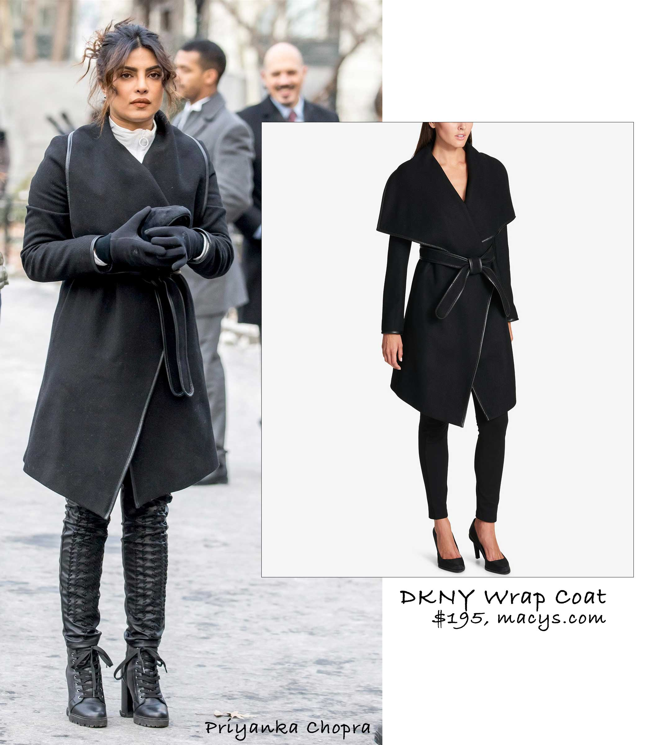Priyanka Chopra in DKNY Wrap Coat (under $200!)