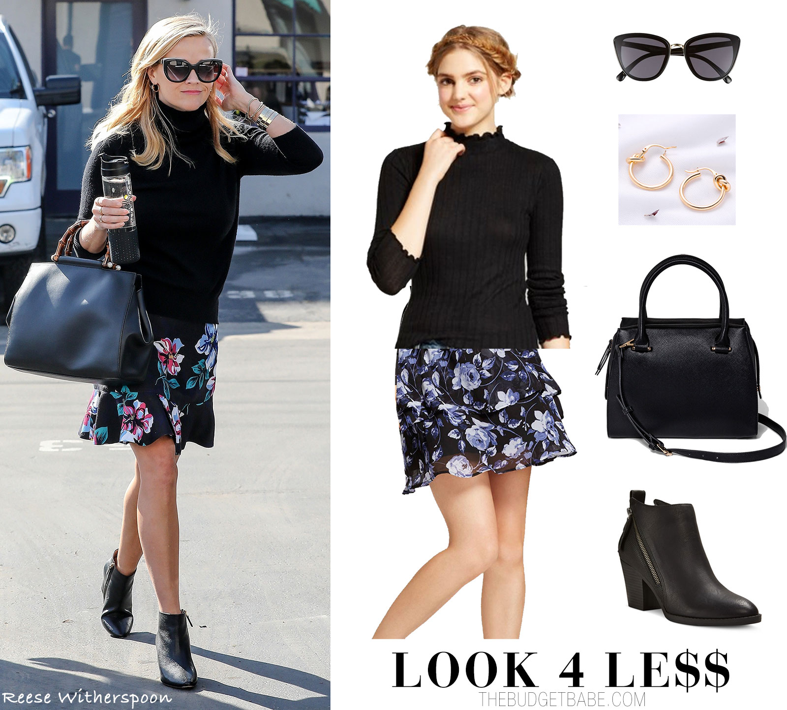 Reese Witherspoon Look for Less Fashion Style in Draper James Floral Skirt and Black Turtleneck Sweater