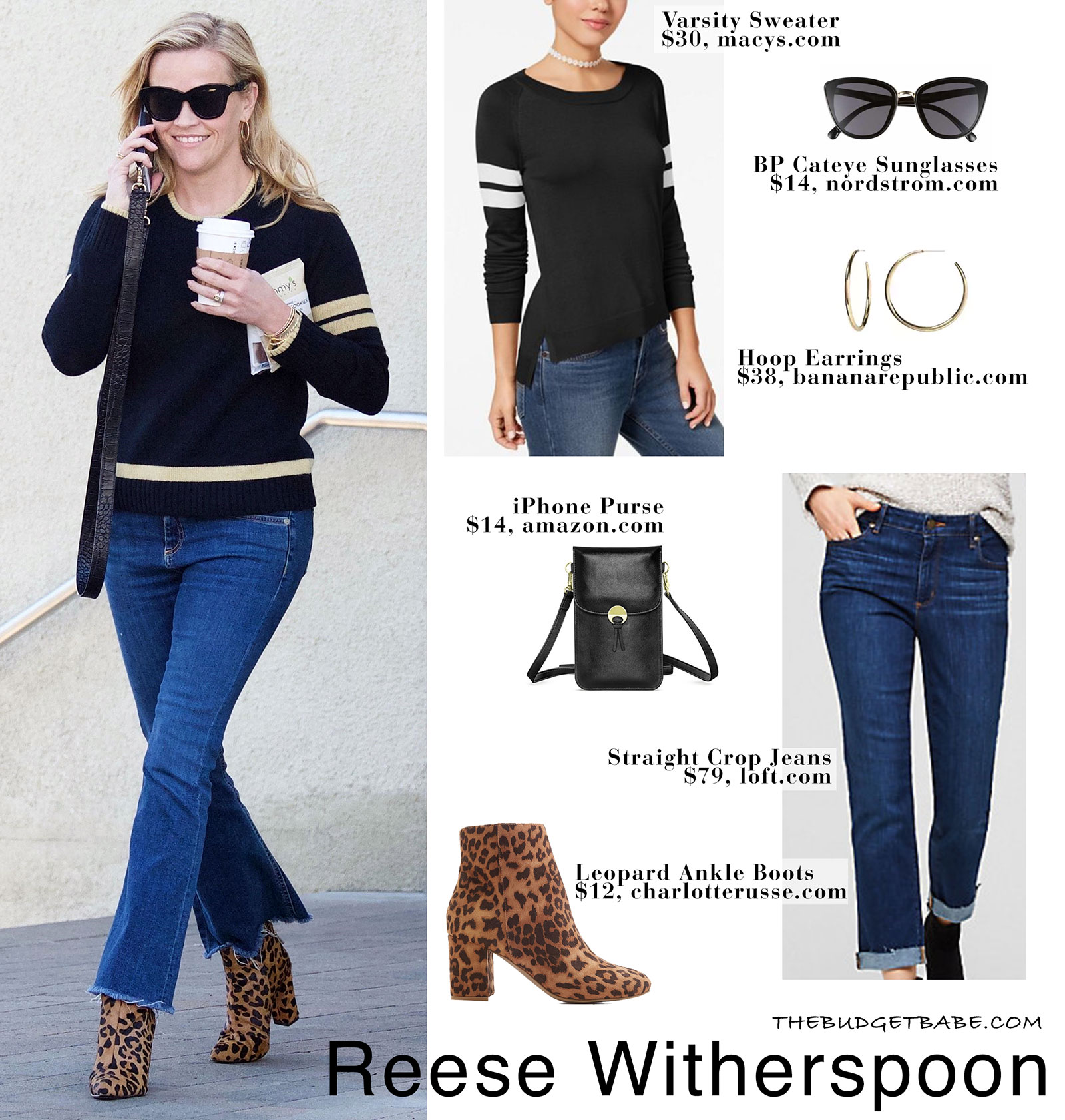 07523f1302 Reese Witherspoon wears her Draper James Spirit sweater with crop jeans and leopard  print ankle booties