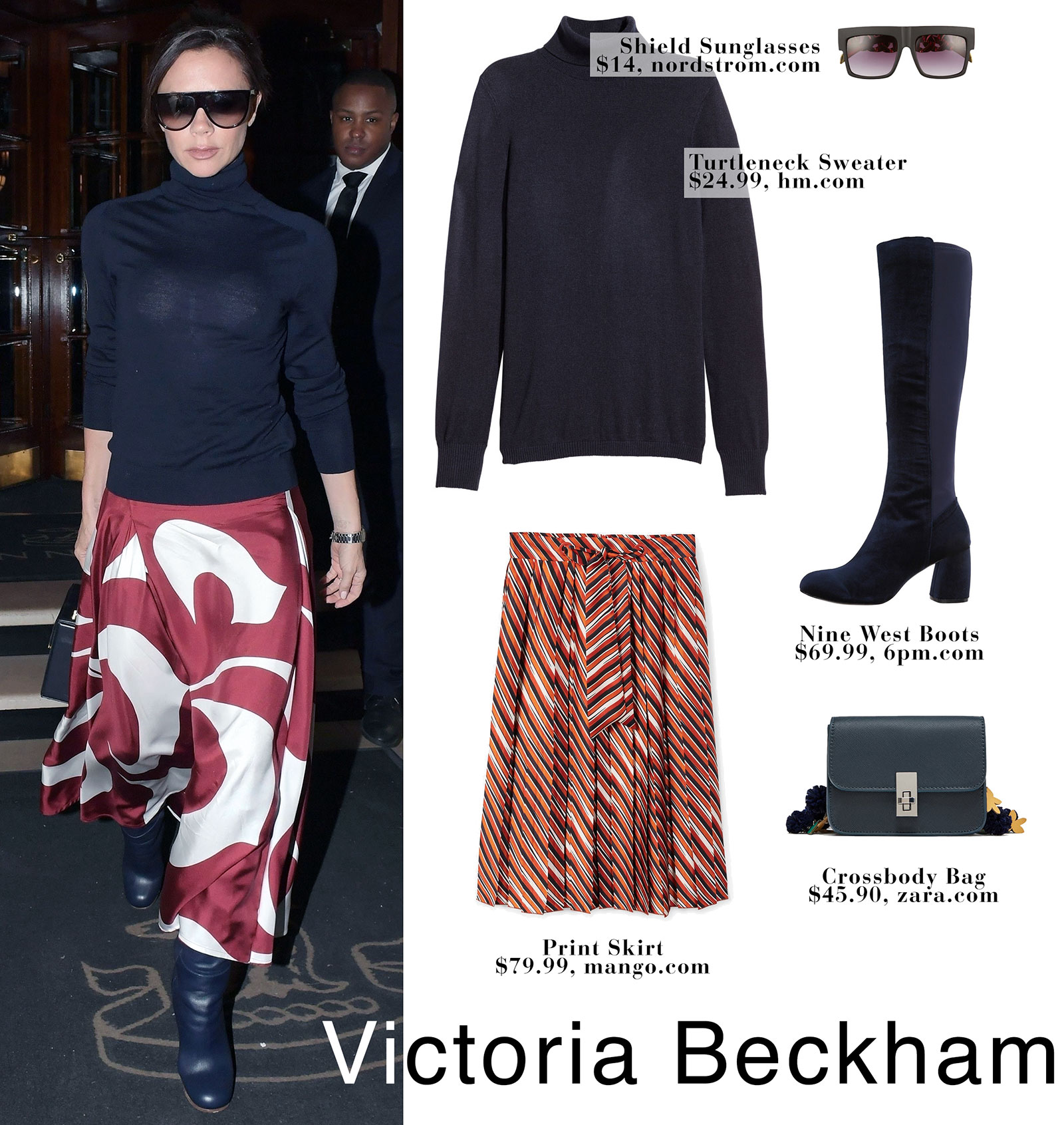 Victoria Beckham's print midi skirt and navy turtleneck look for less