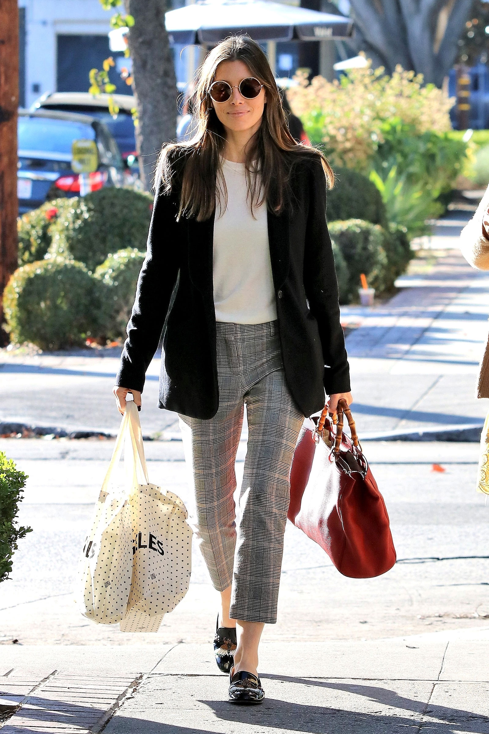 Jessica Biel's plaid check pants, blazer and loafers look for less