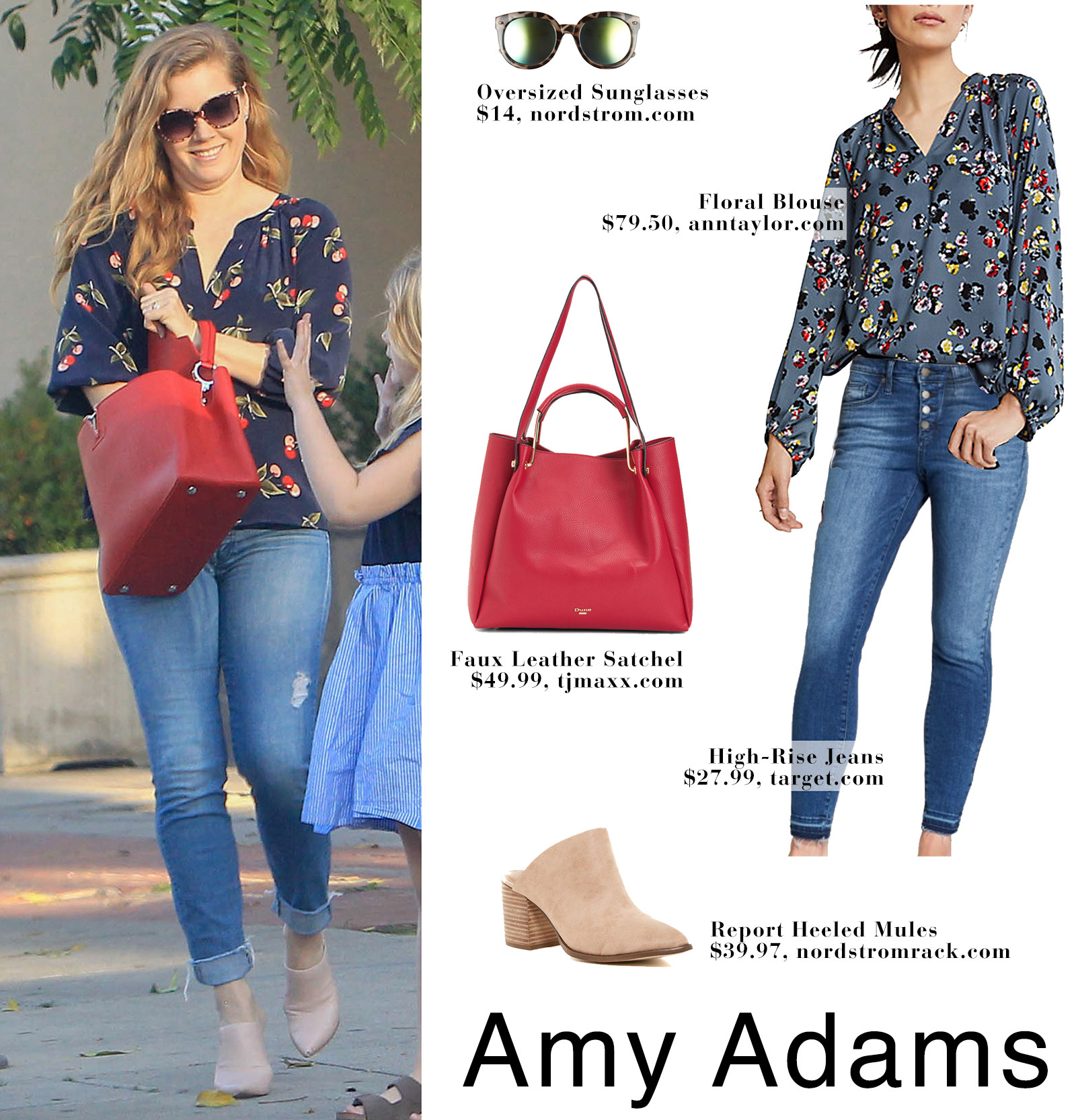 Amy Adams' wears a Joie cherry print blouse with jeans and nude mule heels.