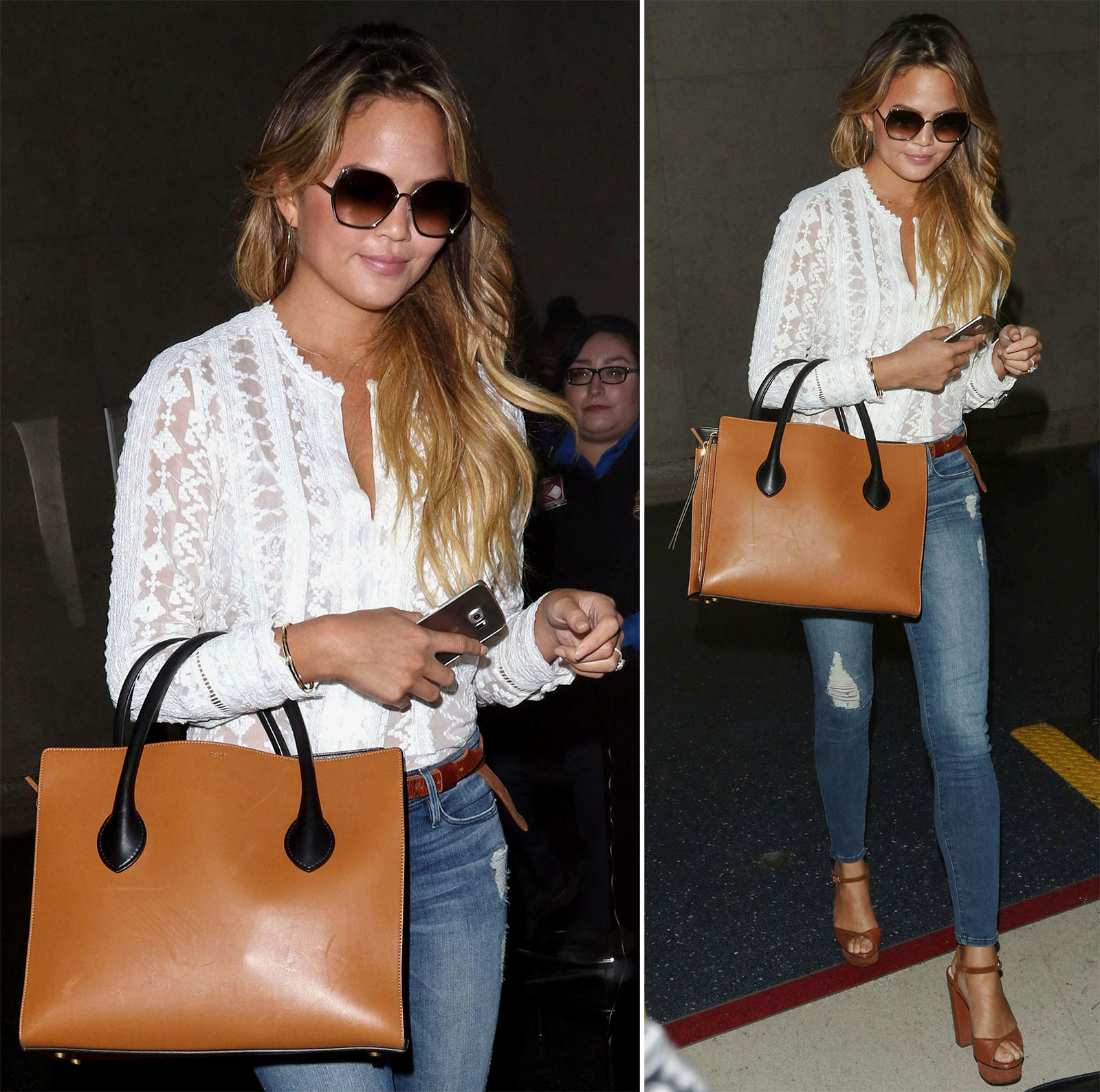 Chrissy Teigen's white lace blouse, skinny jeans and cognac platform peep toe sandals look for less