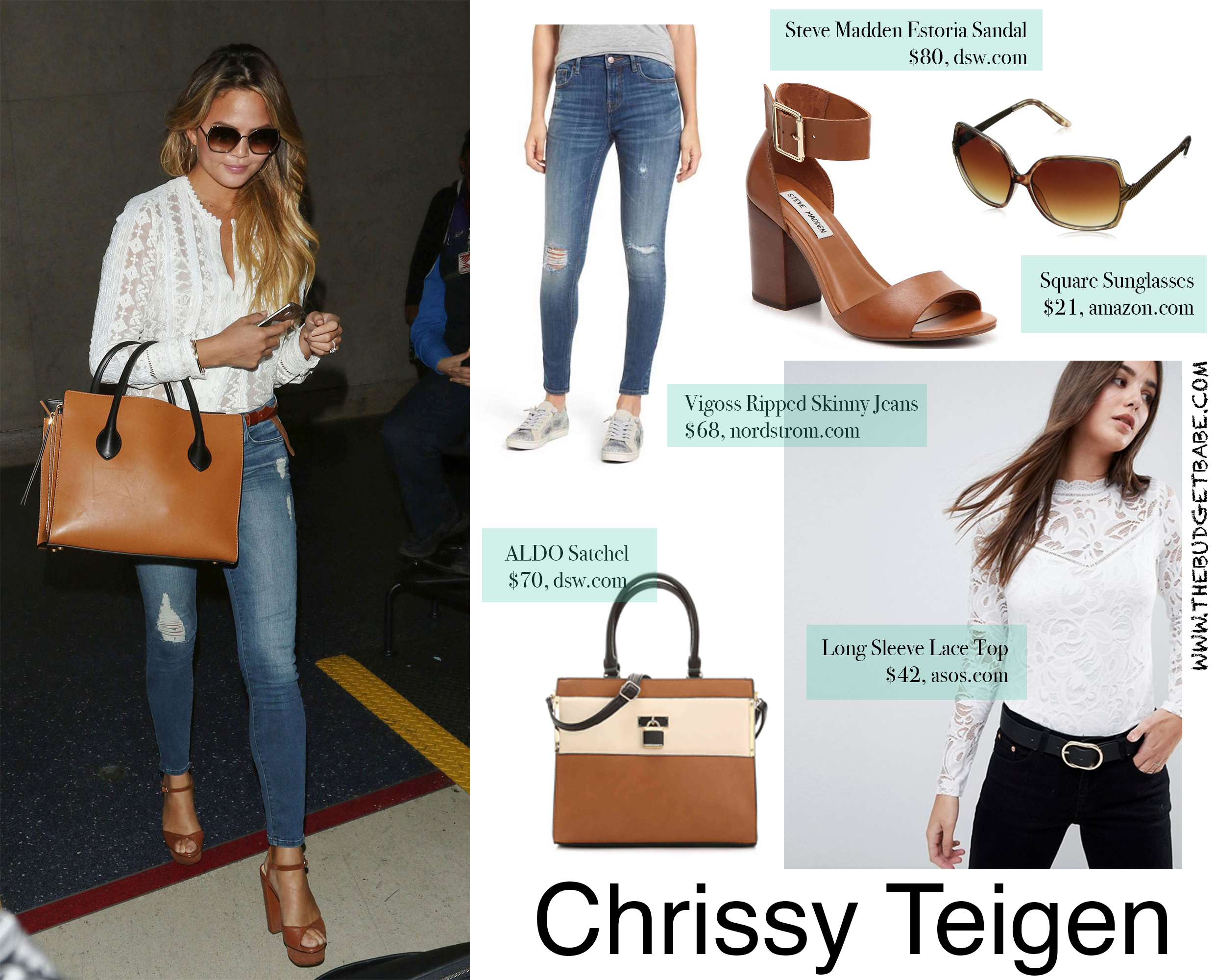 Chrissy Teigen look for less - white blouse skinny jeans and cognac heel sandals