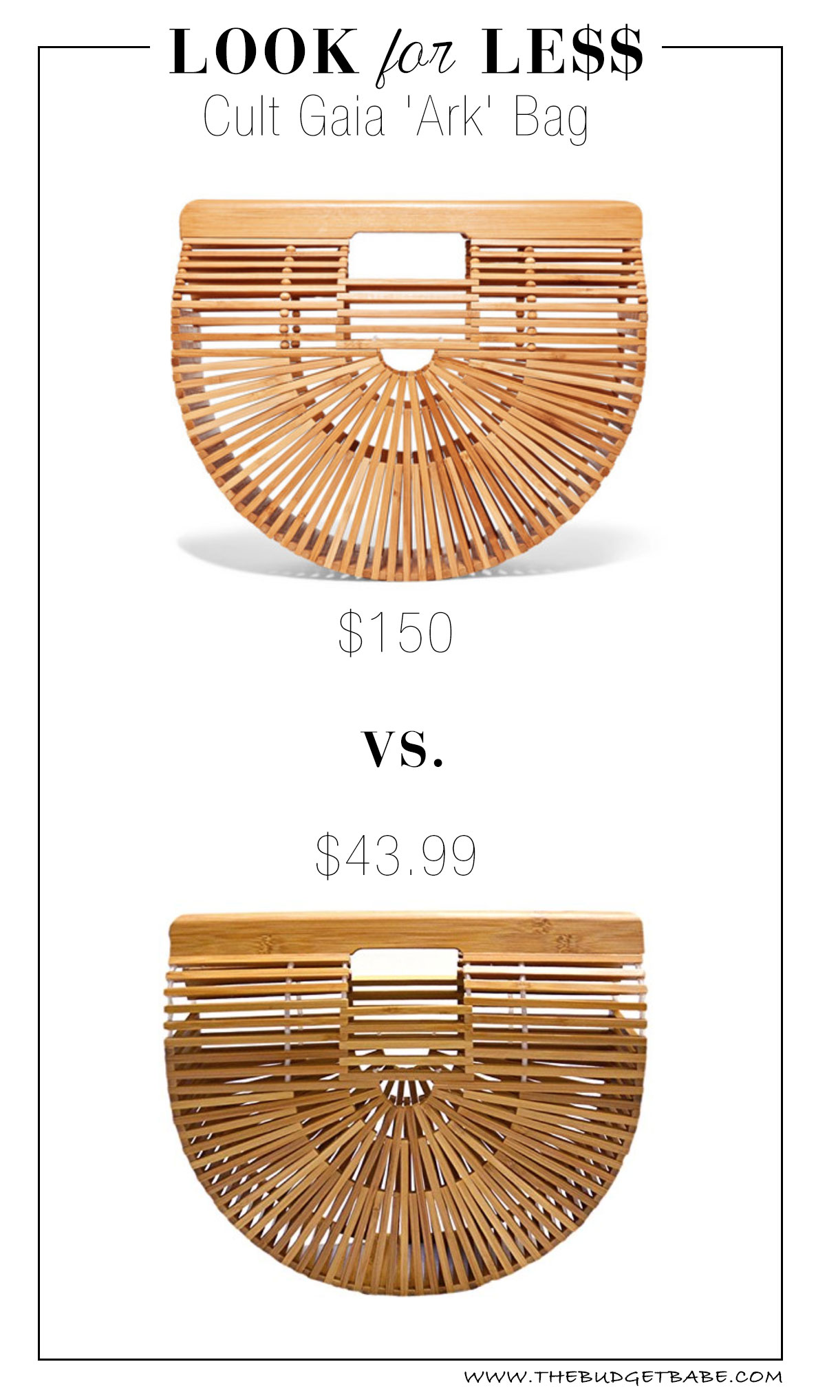Cult Gaia 'Ark' bamboo clutch bag dupe knockoff look for less