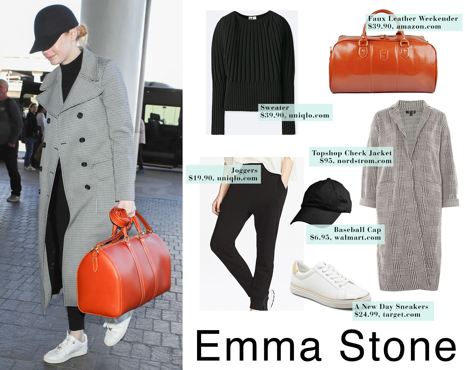 Emma Stone travels in a black monochromatic look with white sneakers, leather duffel weekender suitcase, black baseball cap and gray check plaid trench coat.