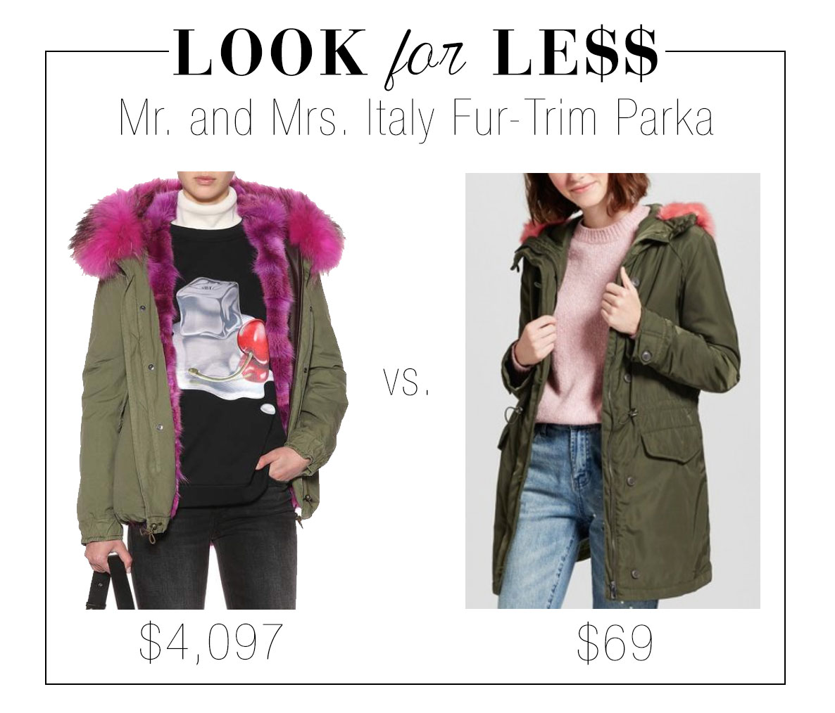 Mr. and Mrs. Italy pink fur trim parka look for less