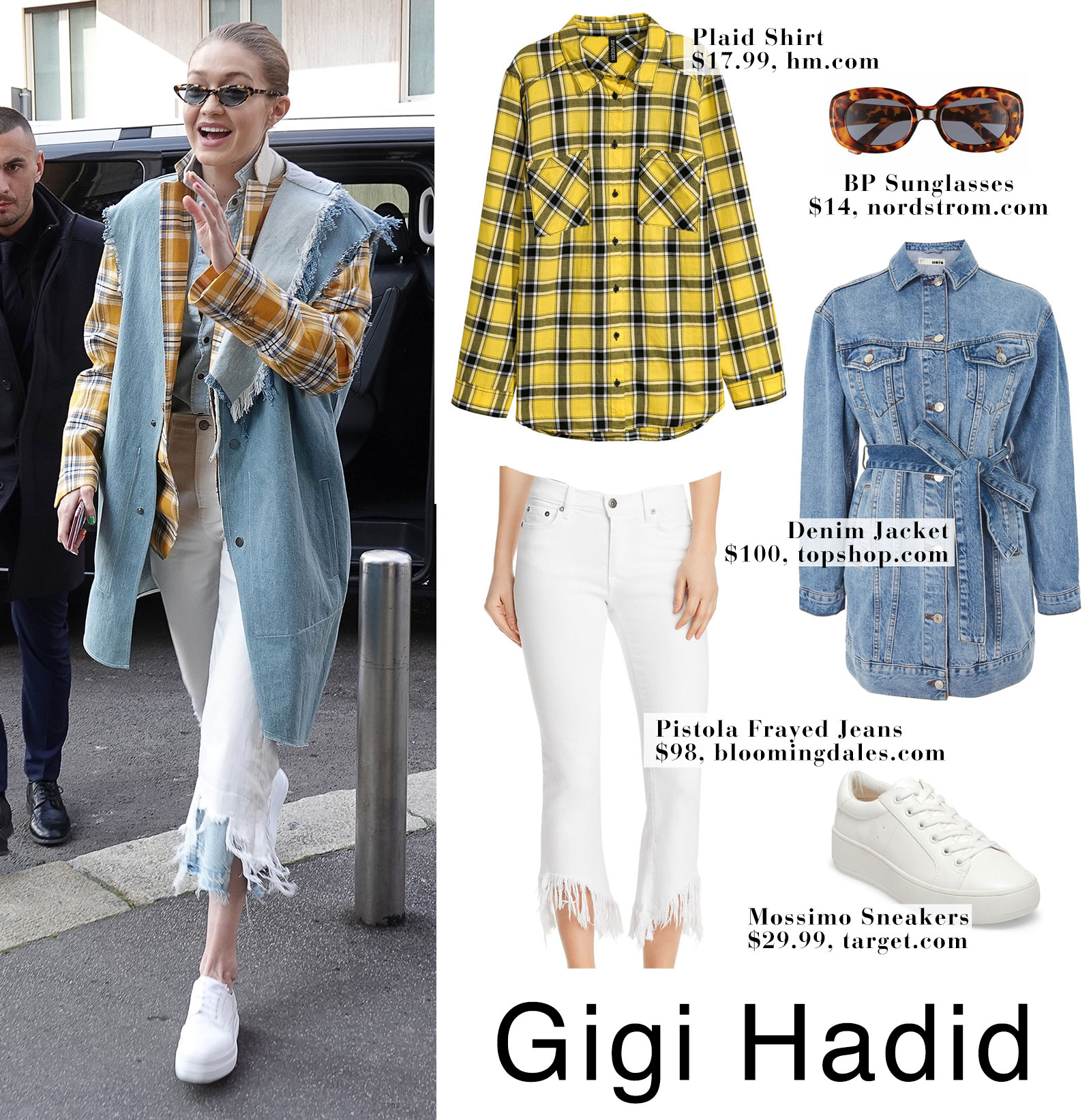 Gigi Hadid's yellow plaid shirt, denim vest and white frayed crop jeans look for less