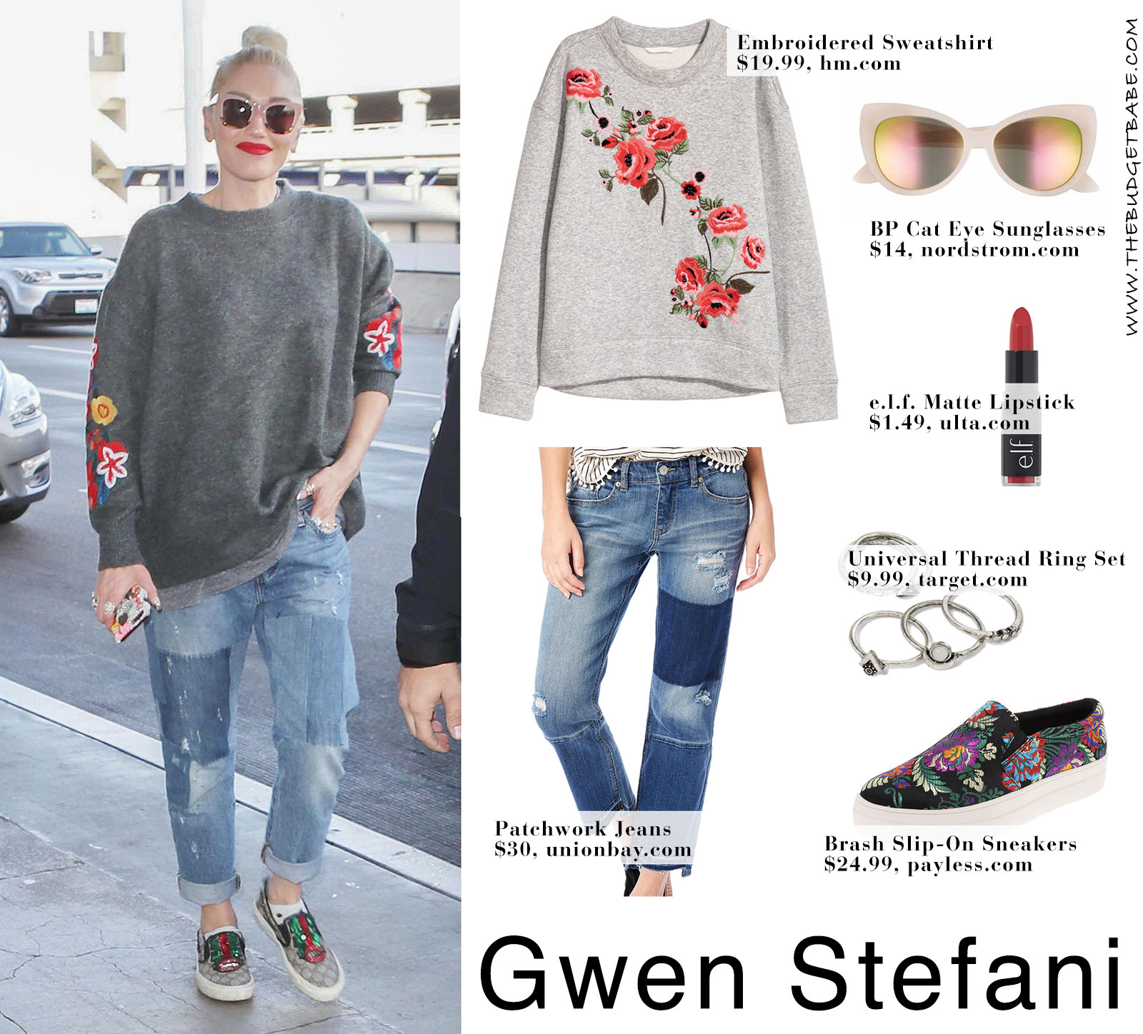 Gwen Stefani's floral embroidered sweatshirt and Gucci sneakers look for less