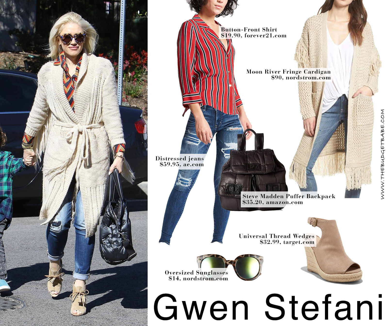 Gwen Stefani's fringe cardigan and wedge booties look for less