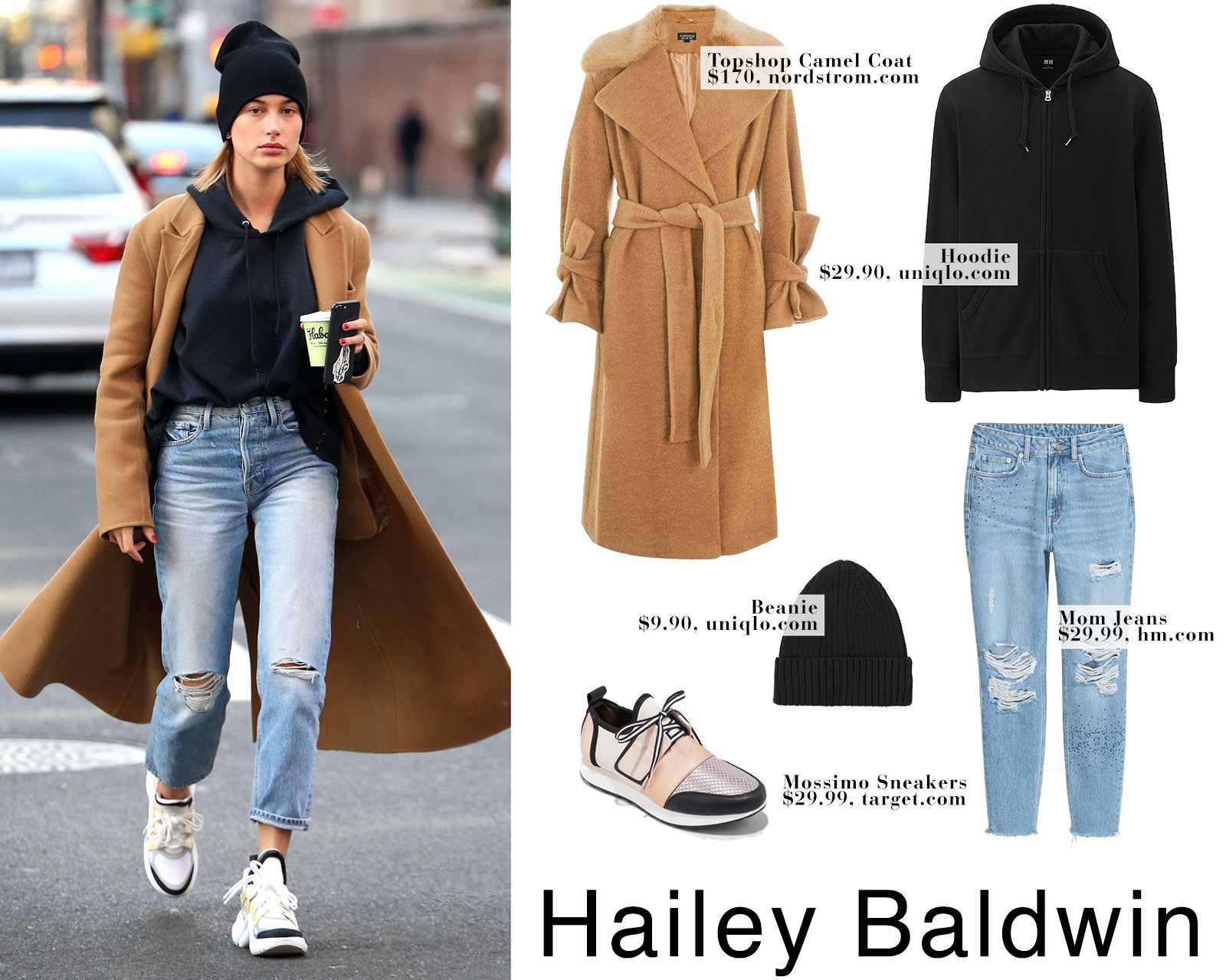 Hailey Baldwin's camel coat, black hoodie, mom jeans and Louis Vuitton sneakers look for less