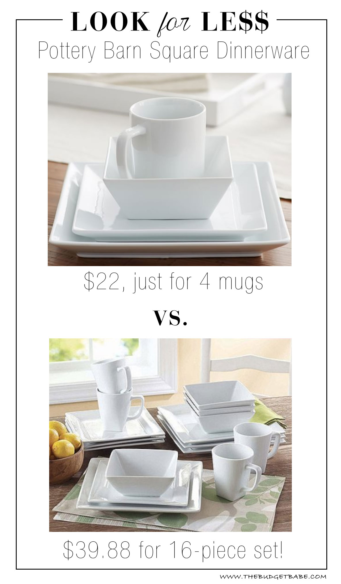 Pottery Barn look for less at Walmart!  sc 1 st  The Budget Babe & Look for Less: Pottery Barn The Great White Square Dinnerware - The ...