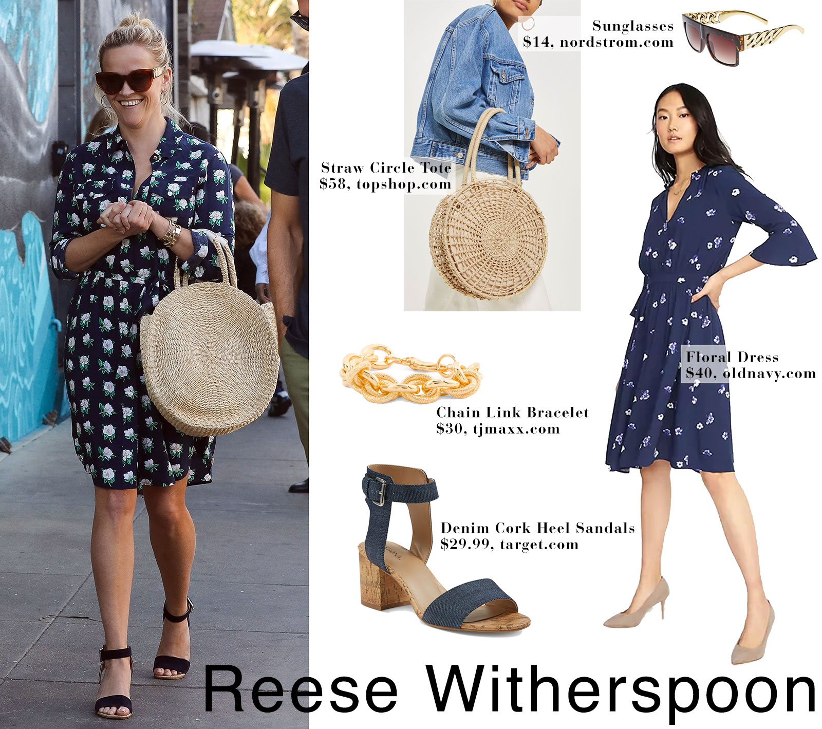 Reese Witherspoon's floral shirtdress and straw circle tote bag look for less