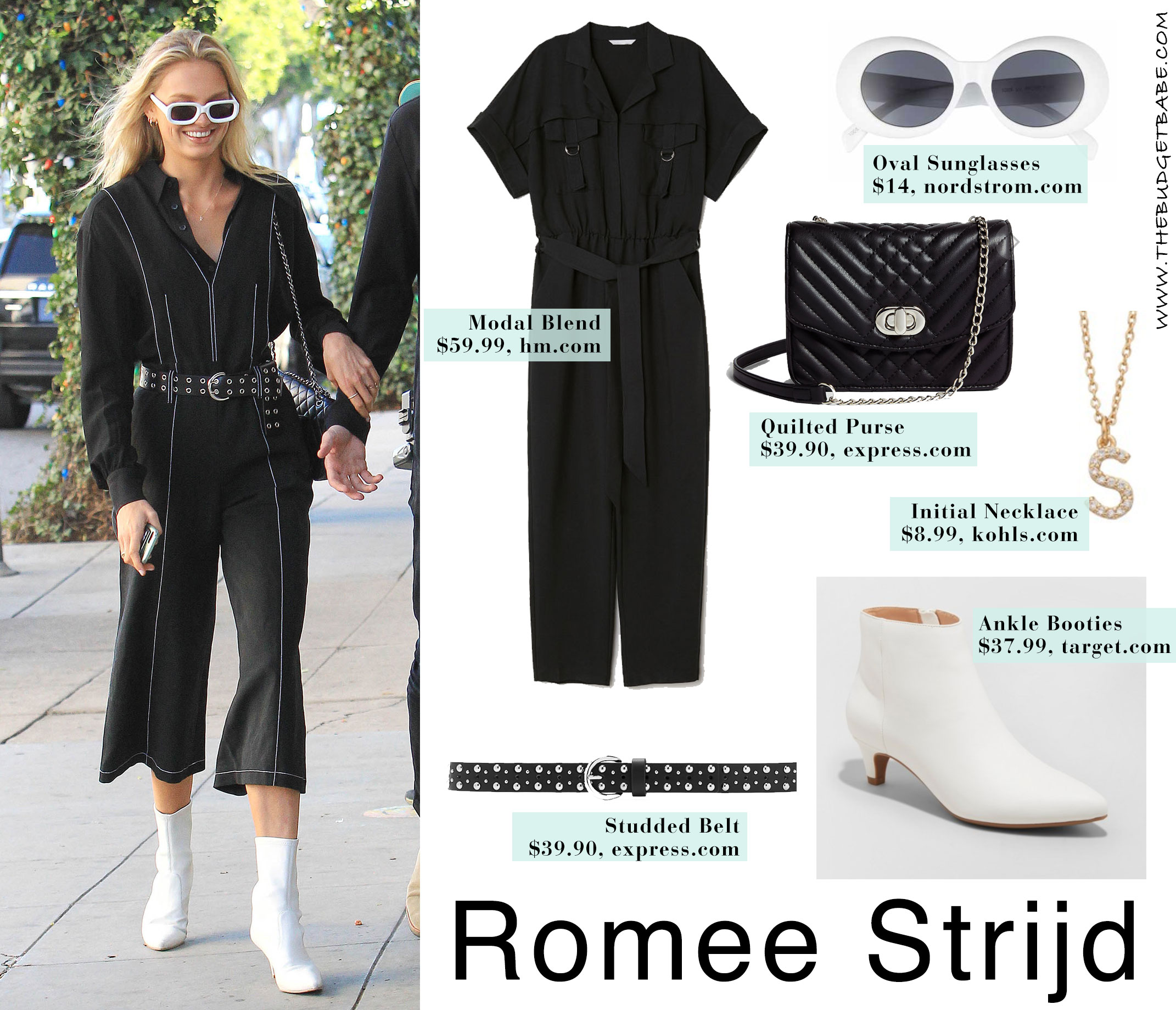 Romee Strijd's jumpsuit and white ankle boots look for less
