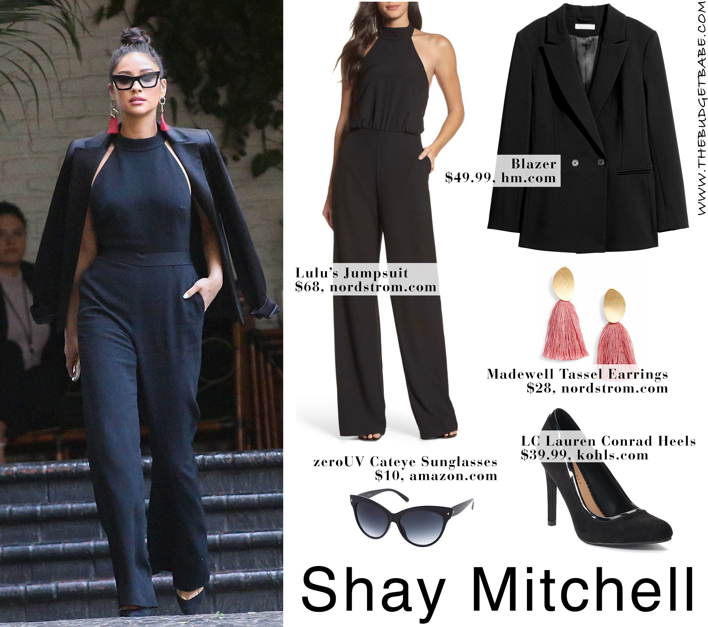 6d76df4e0a2 Shay Mitchell s Black Jumpsuit and Fringe Earrings Look for Less