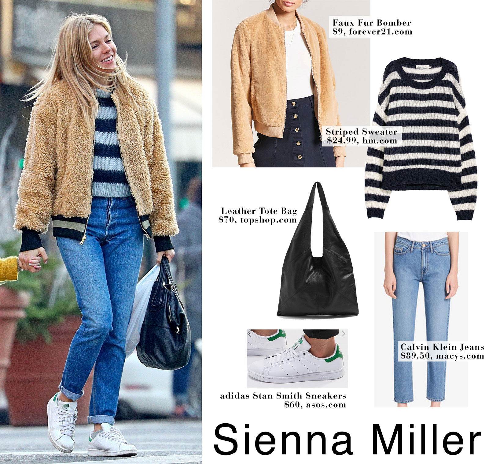 8a2779b8dbb Sienna Miller wears a faux fur bomber jacket with Adidas sneakers with  daughter Marlowe while out