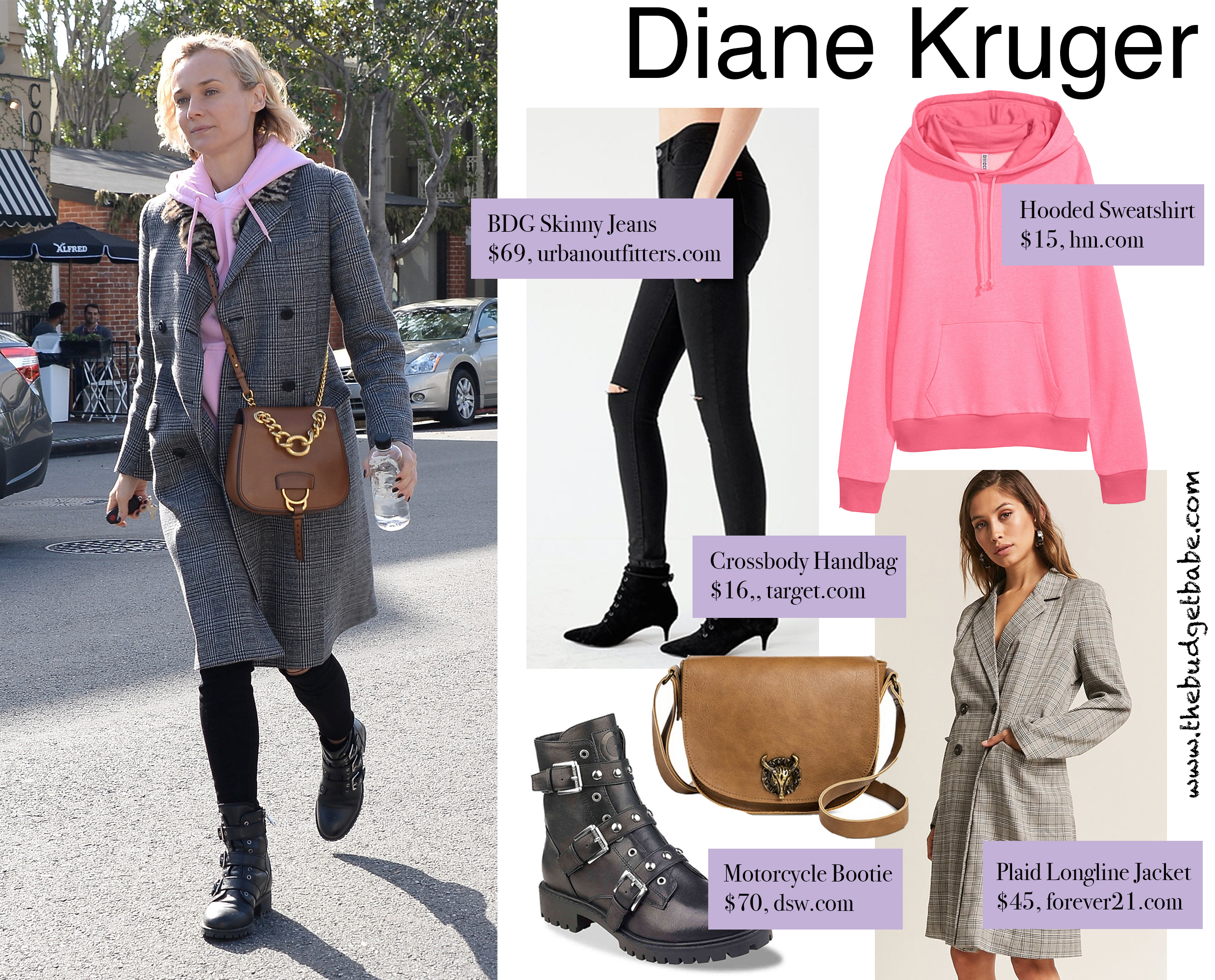 Diane Kruger looks cool and casual in her pink hoodie and Miu Miu bag.