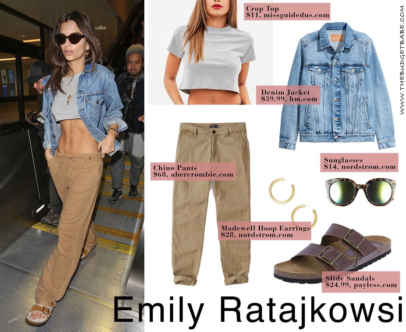 Emily Ratajkowski's cargo pants and crop top look for less