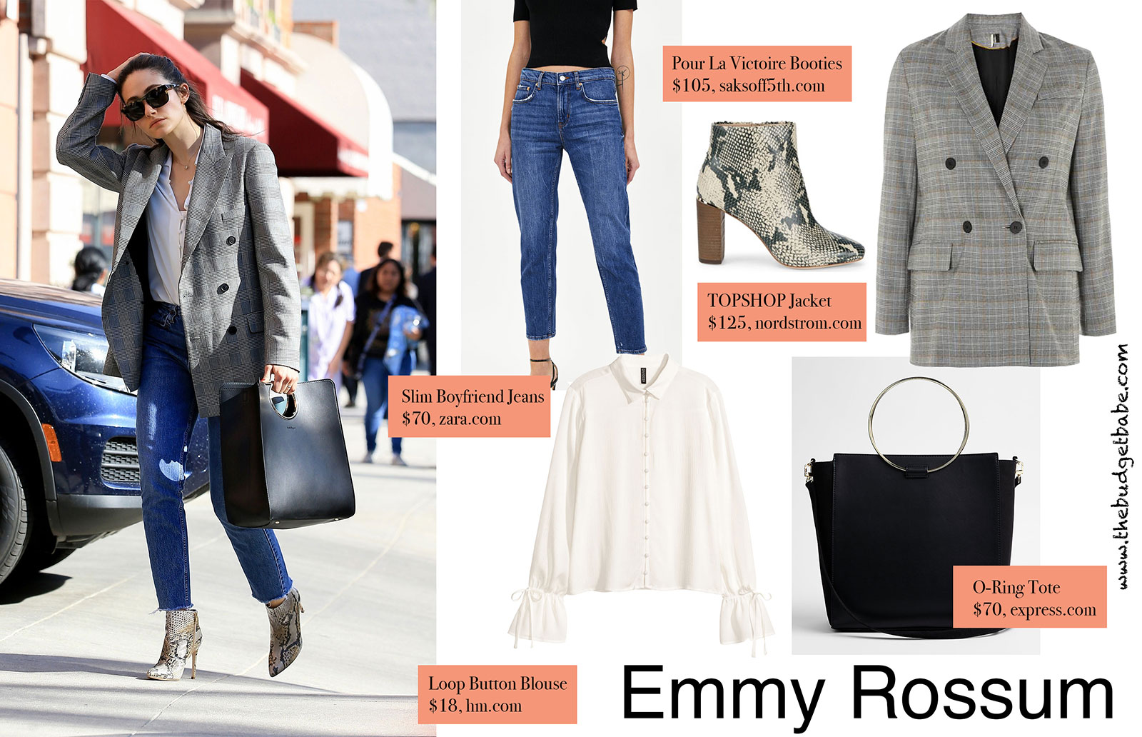 Emmy Rossum's check blazer and python booties look for less