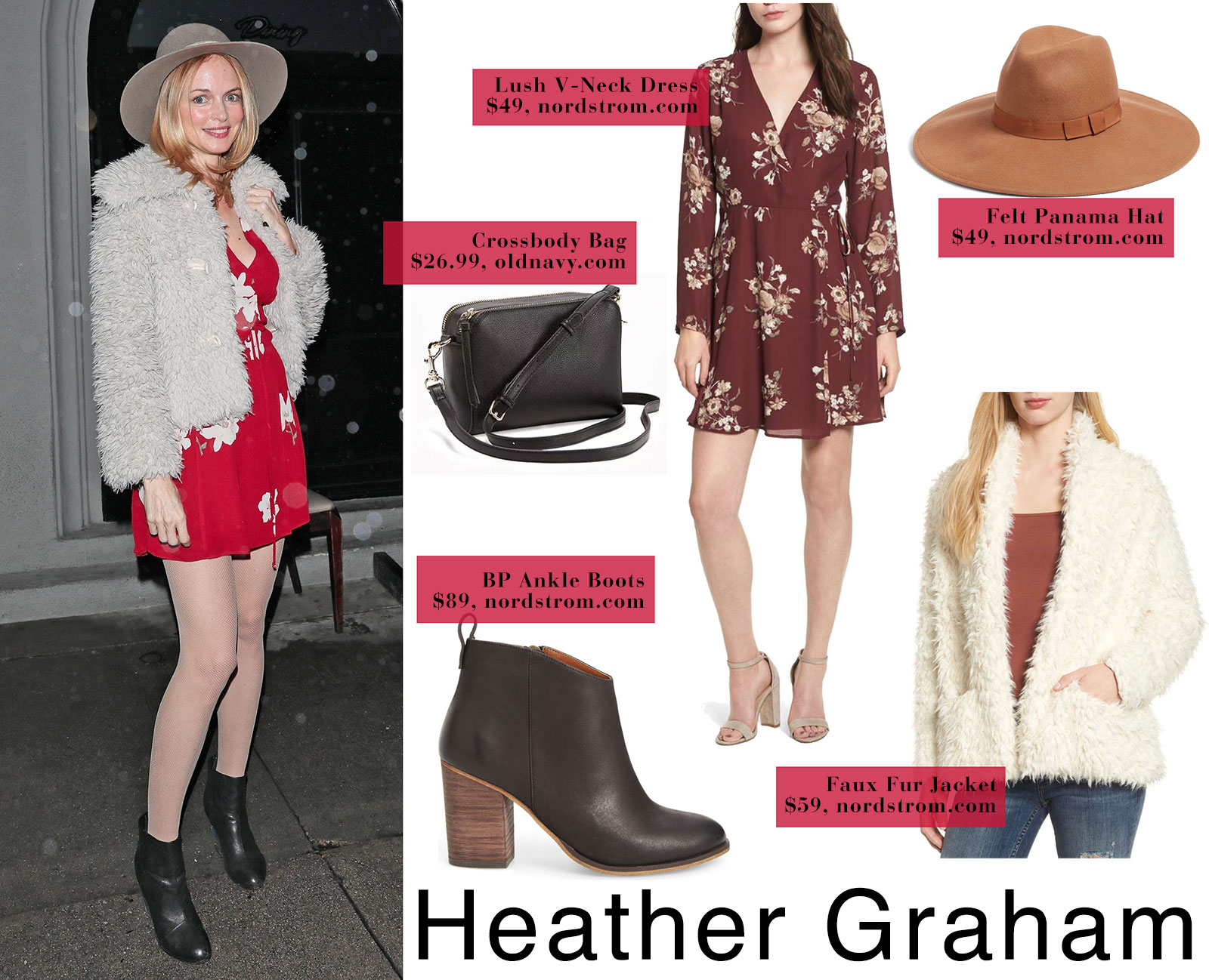 Heather Graham wears a floral Reformation dress with ankle boots and a furry coat.