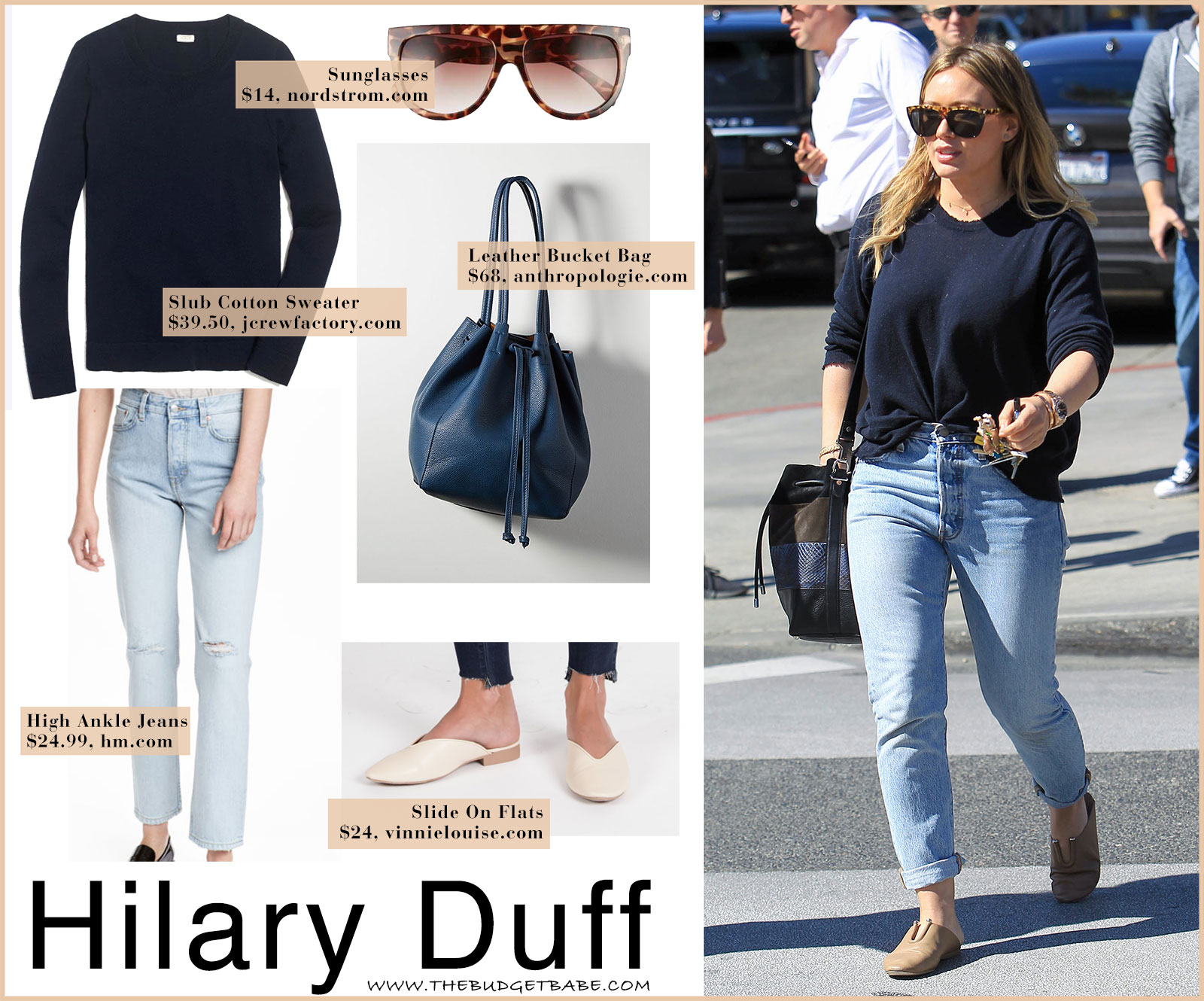Hilary Duff wears tan mules with high waist jeans and a navy sweater.