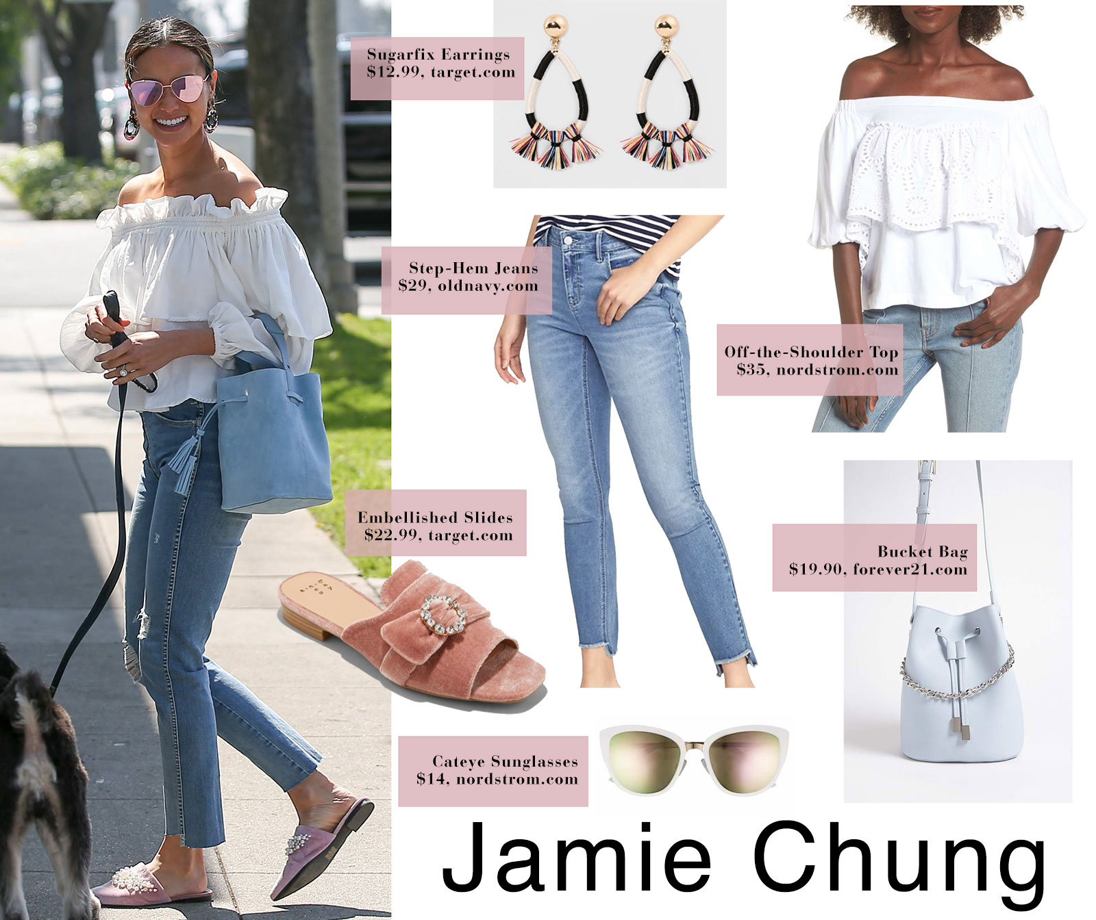 c28abd4cb446d Jamie Chung s off the shoulder top and pink mule slides.