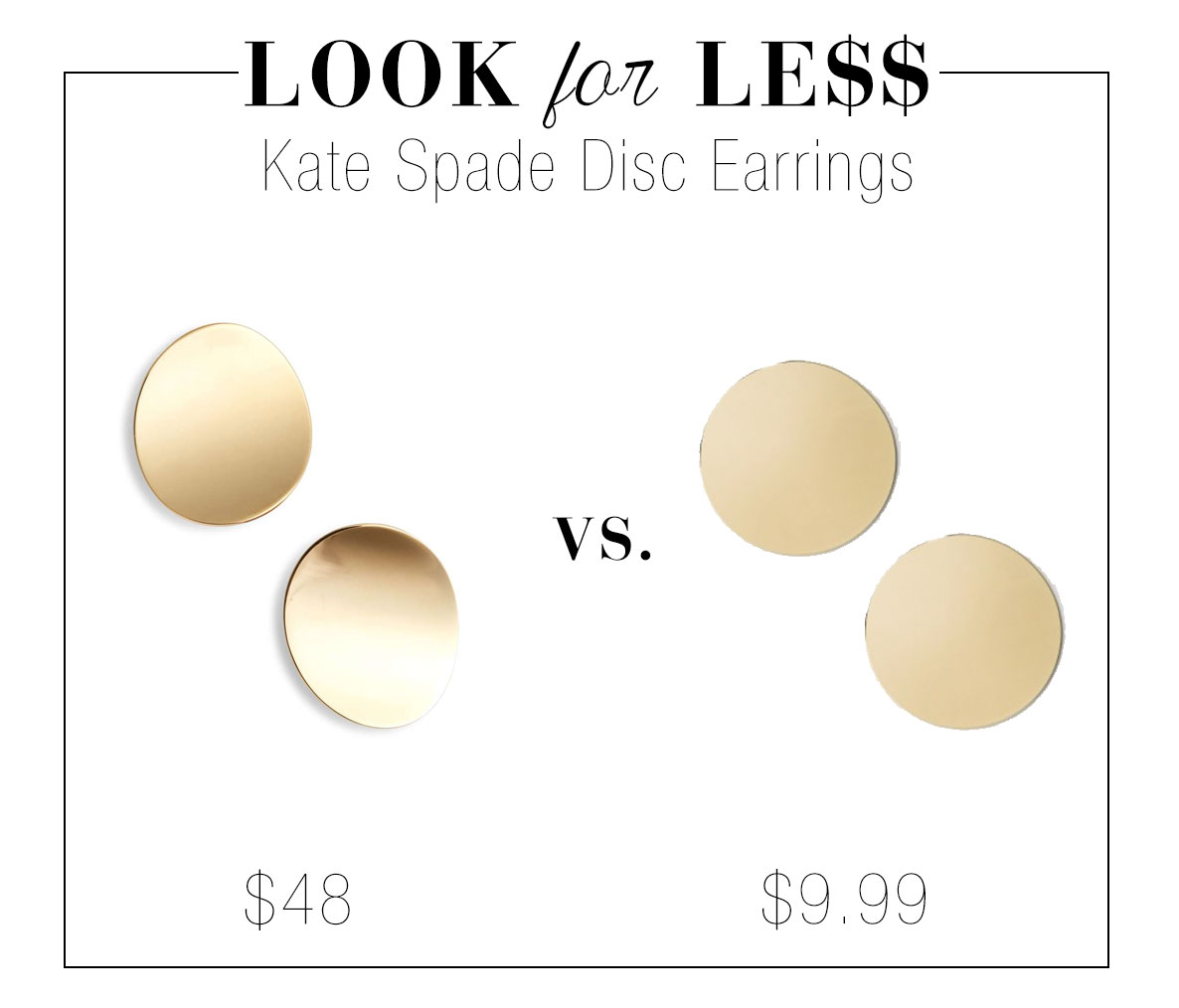 Kate Spade gold disc earrings look for less