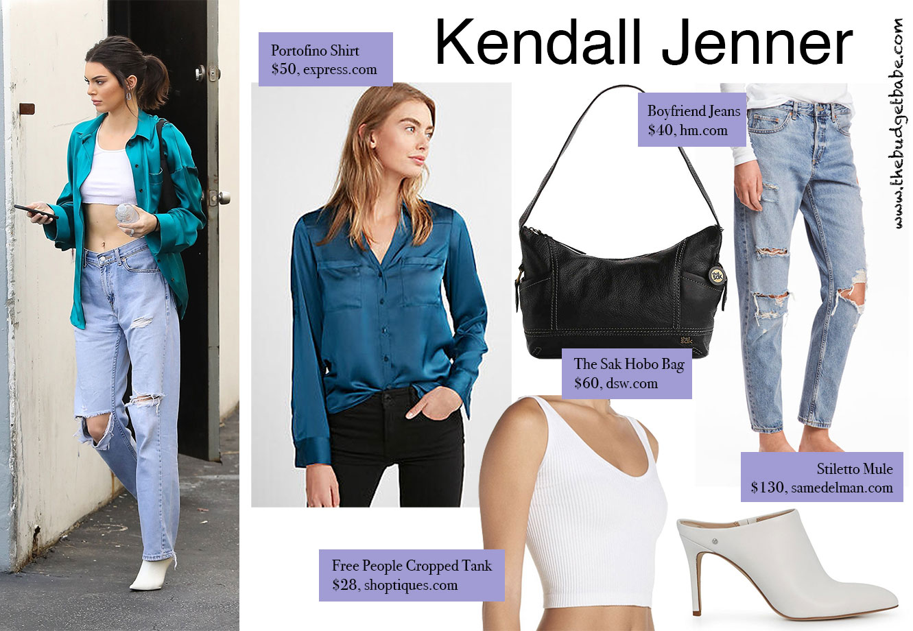 Kendall Jenner's teal jacket and jeans look for less