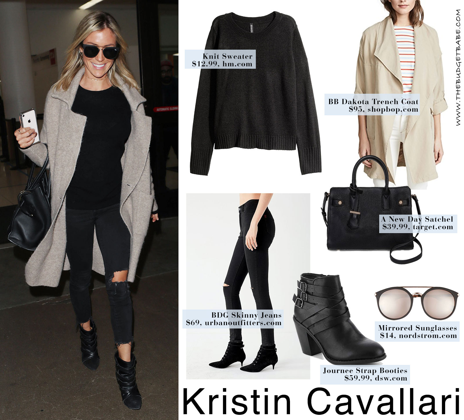 Kristin Cavallari's tan coat and black sweater with black ankle boots look for less