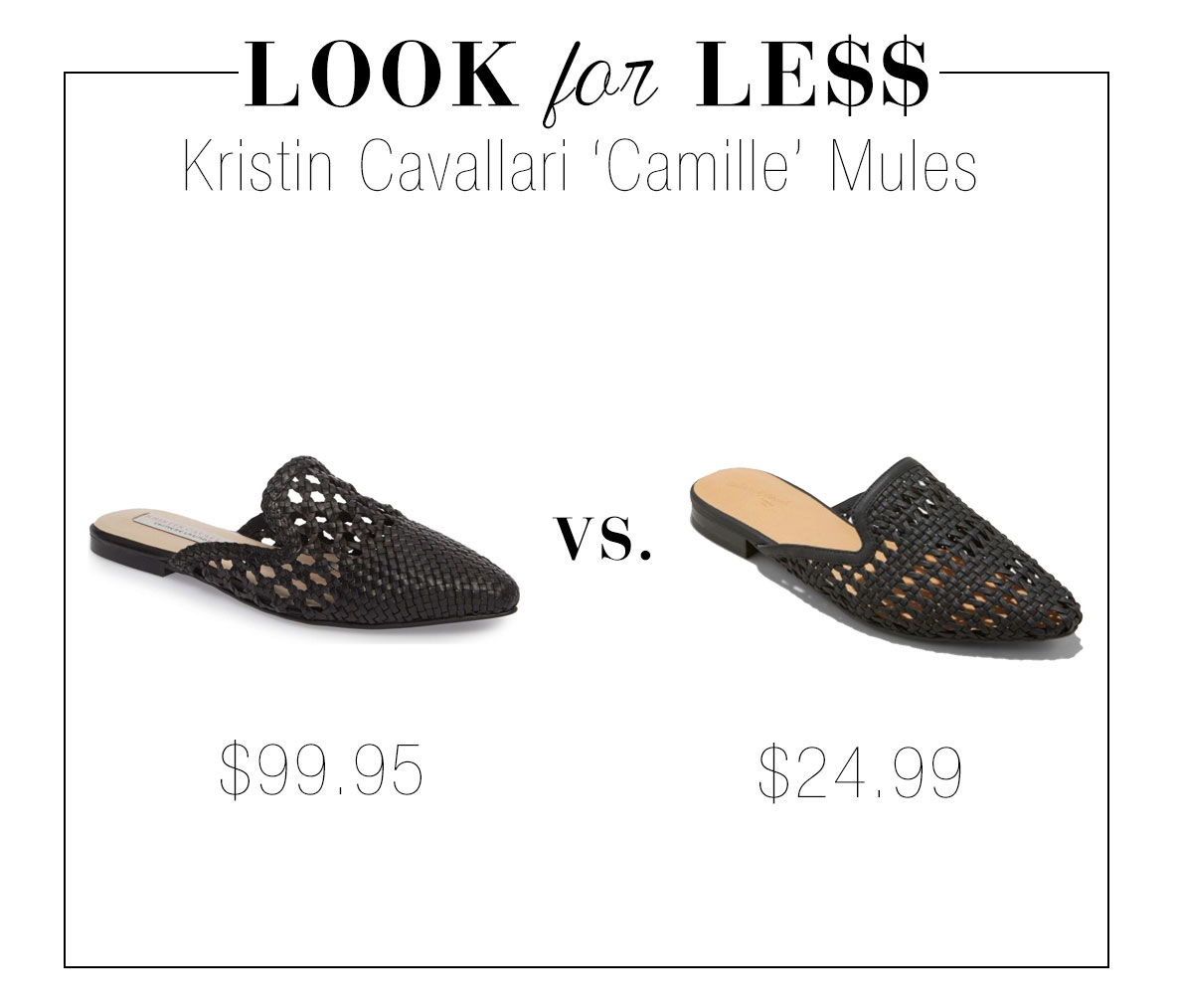 Kristin Cavallari woven mules look for less - love these for summer