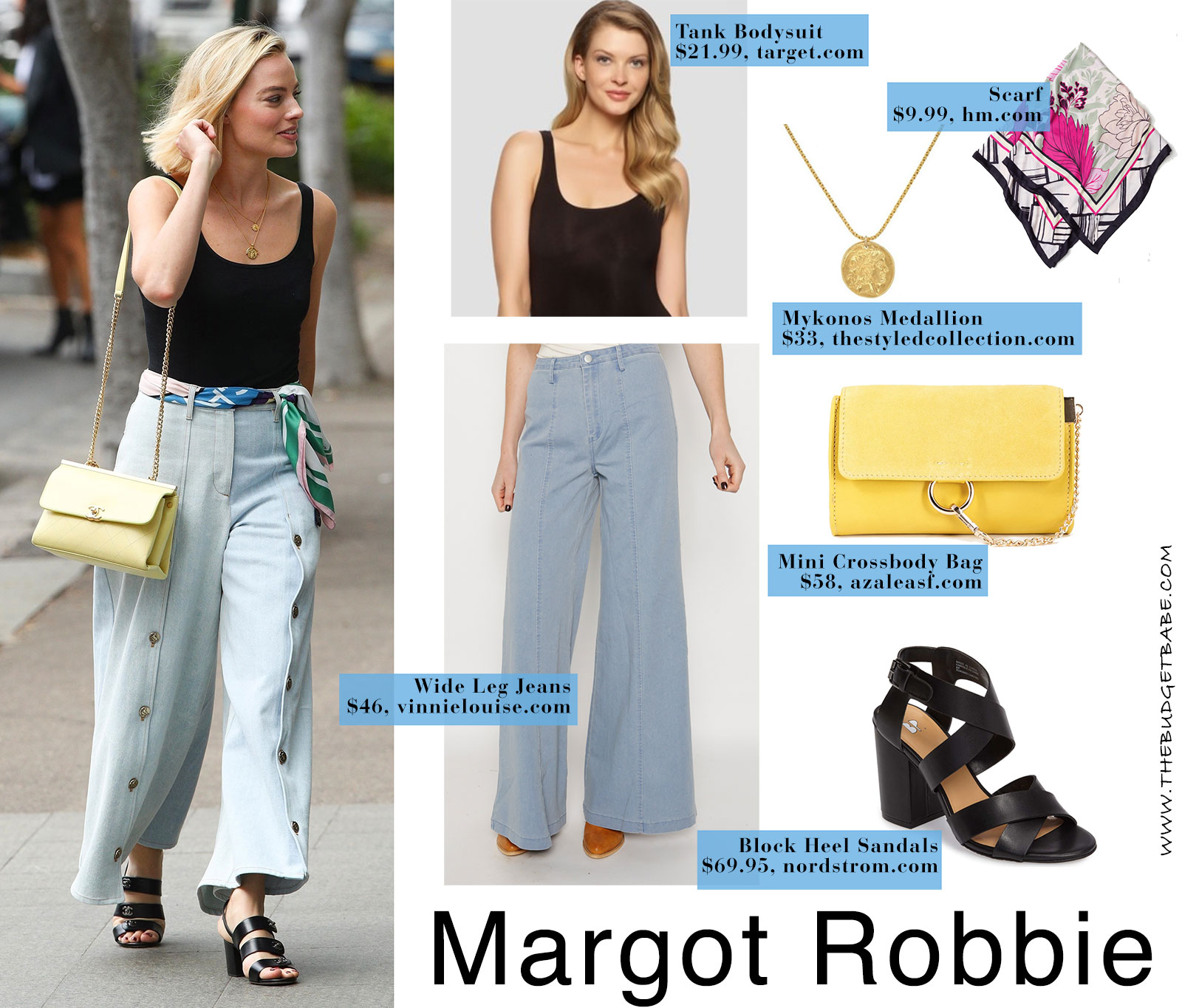 Margot Robbie's wide leg pants and block heels look for less