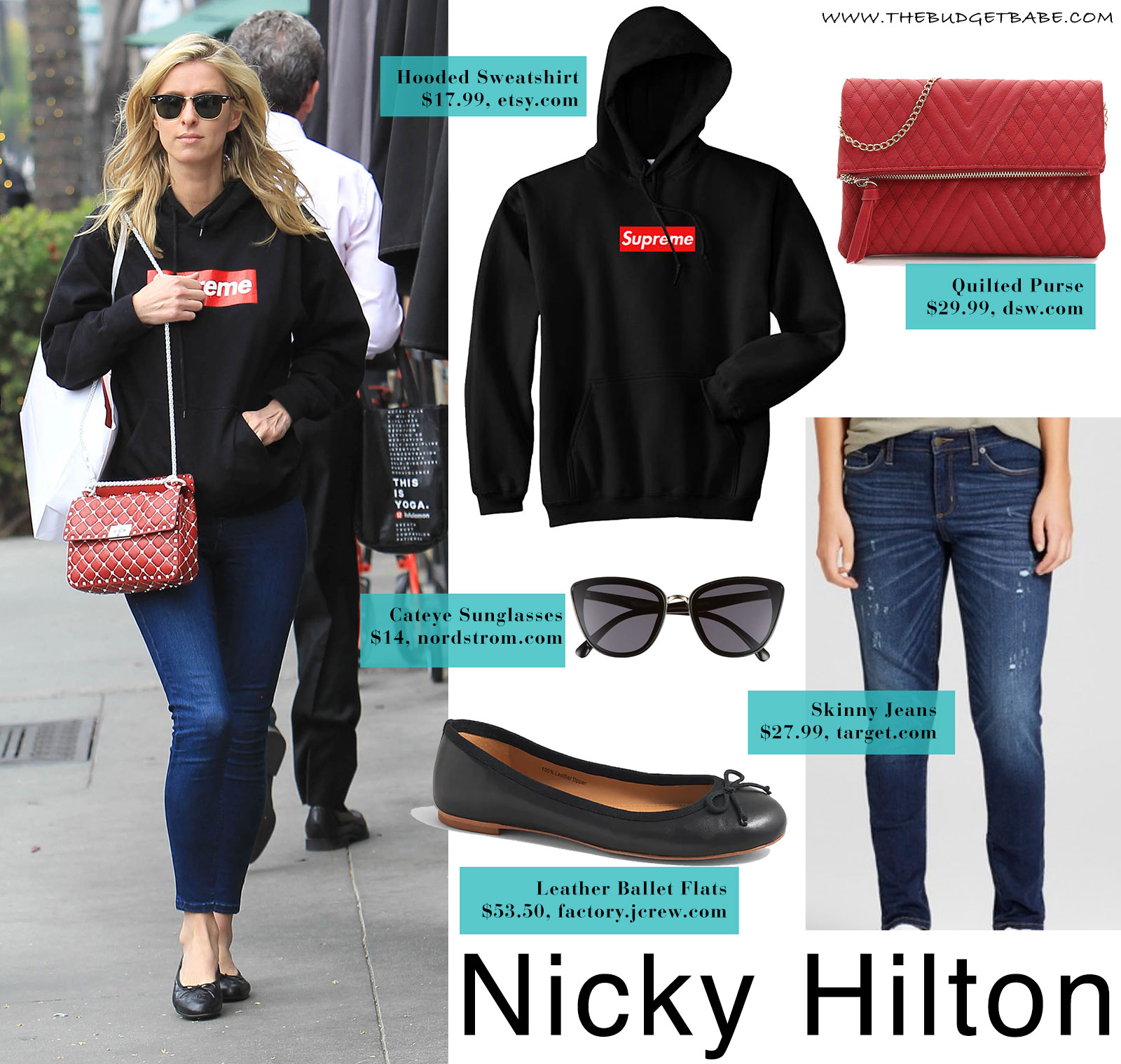 Nicky Hilton's Supreme sweatshirt and Valentino bag look for less