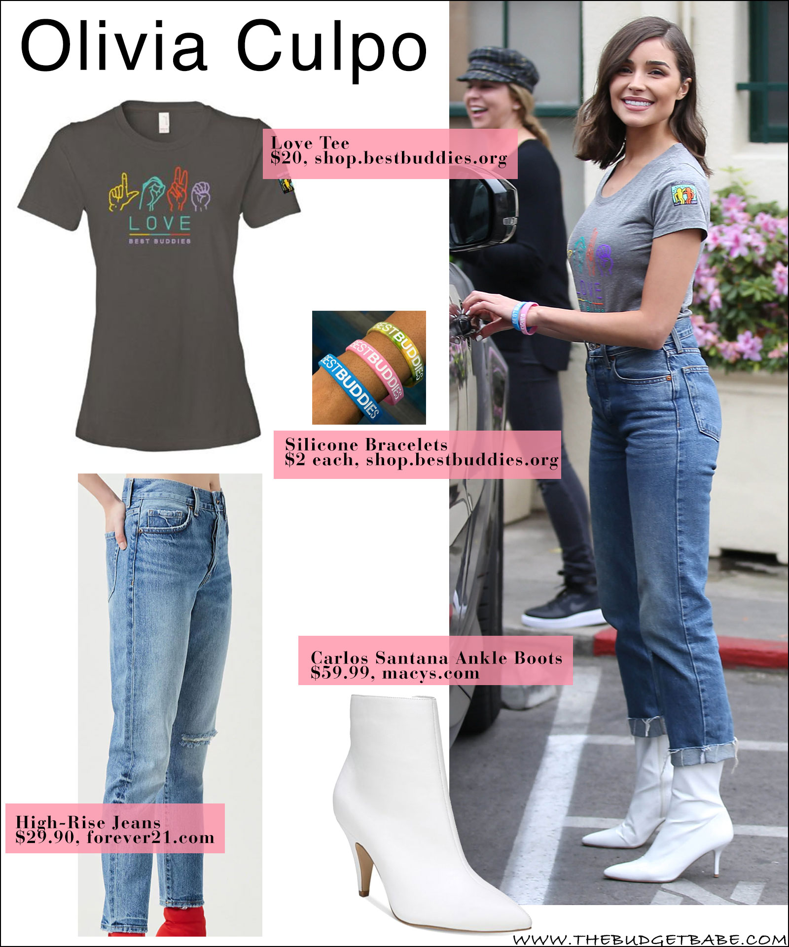 Olivia Culpo wears a Love Best Buddies T-Shirt with high waist jeans and white ankle boots