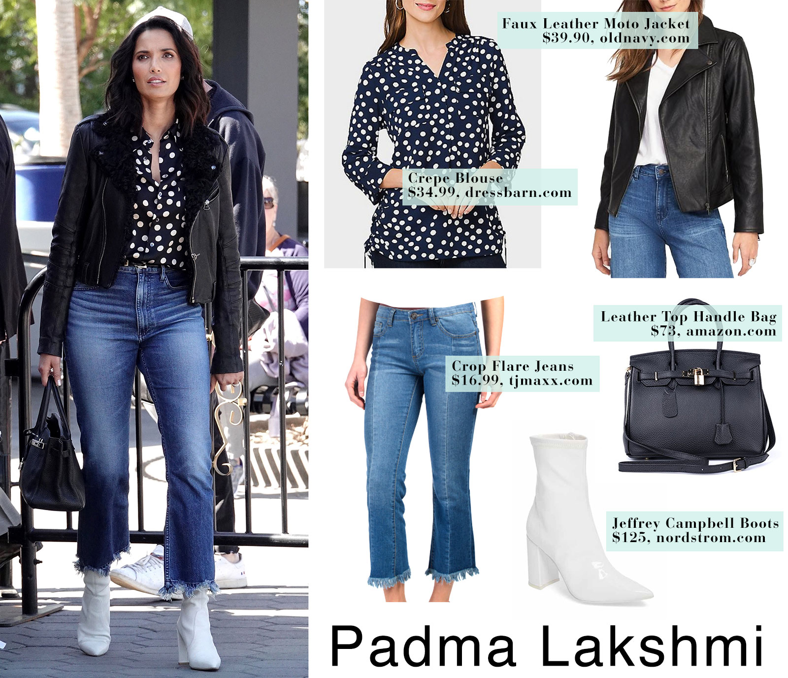 Padma Lakshmi's polka dot blouse and white ankle boots look for less