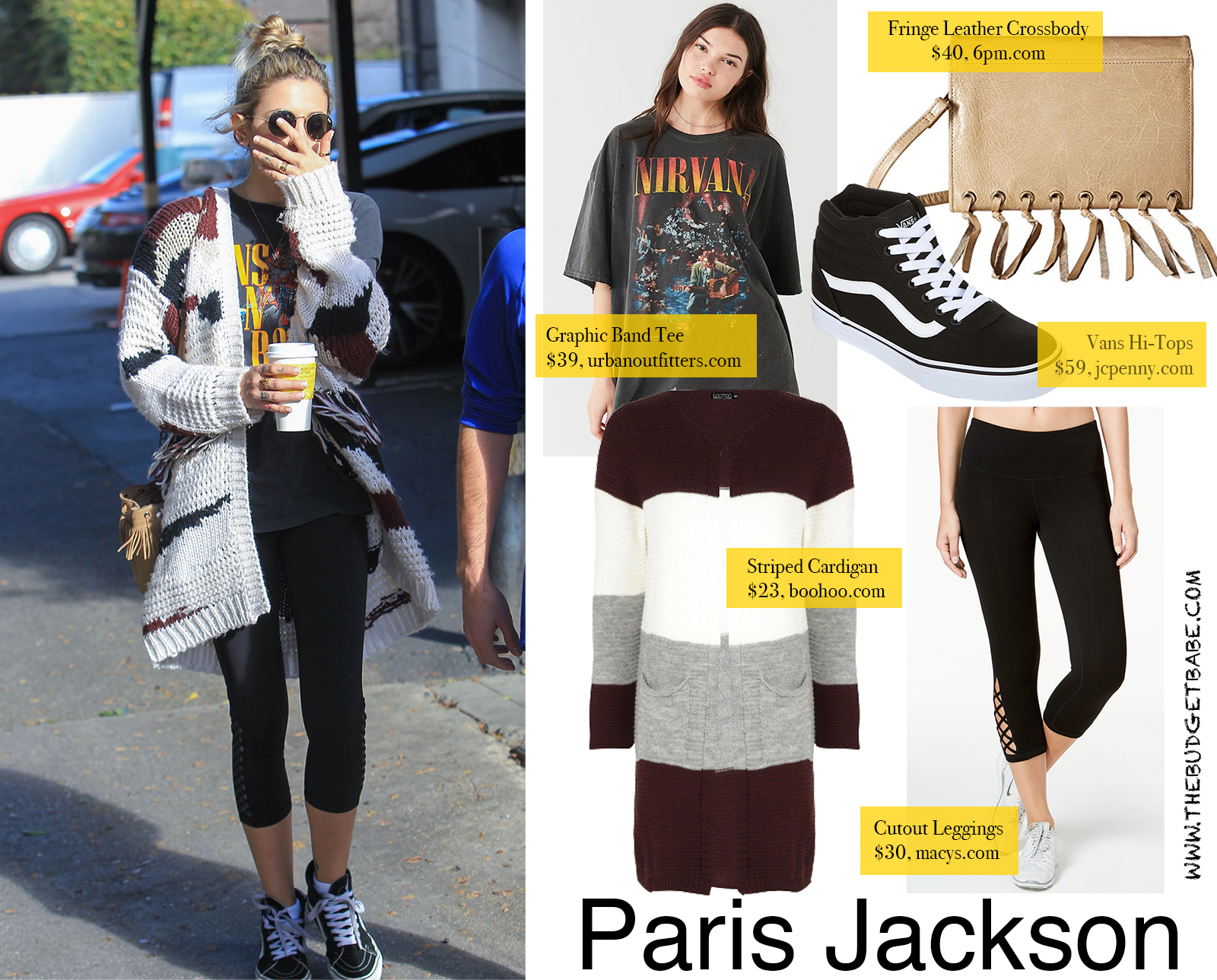 Paris Jackson wears a band tee with leggings and Vans