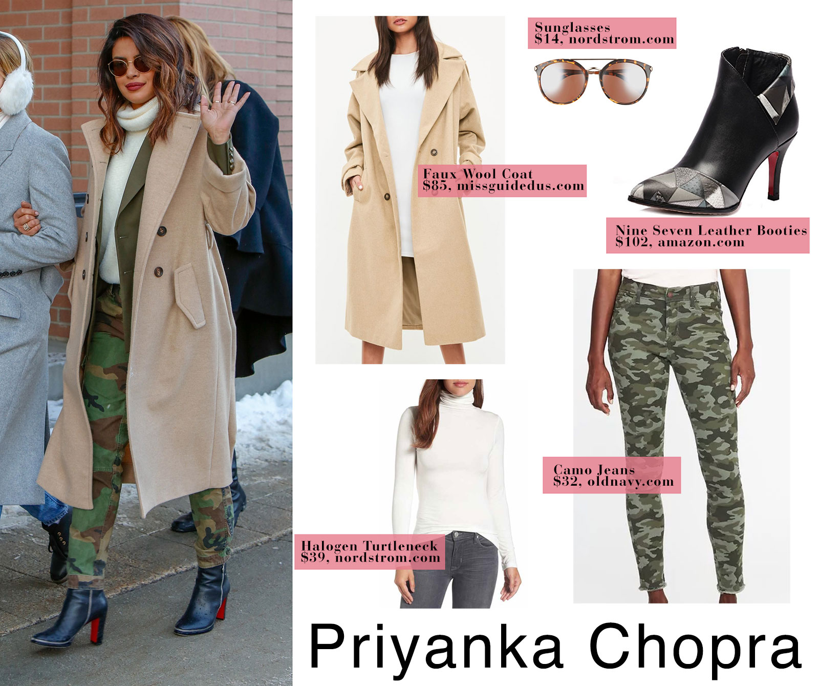 Priyanka Chopra in camel coat and camo pants