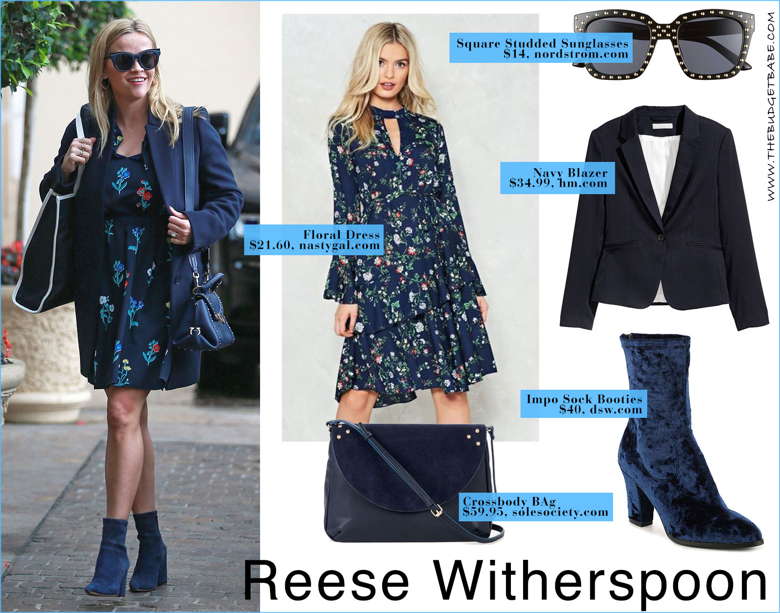Reese Witherspoon's navy floral dress by Draper James look for less