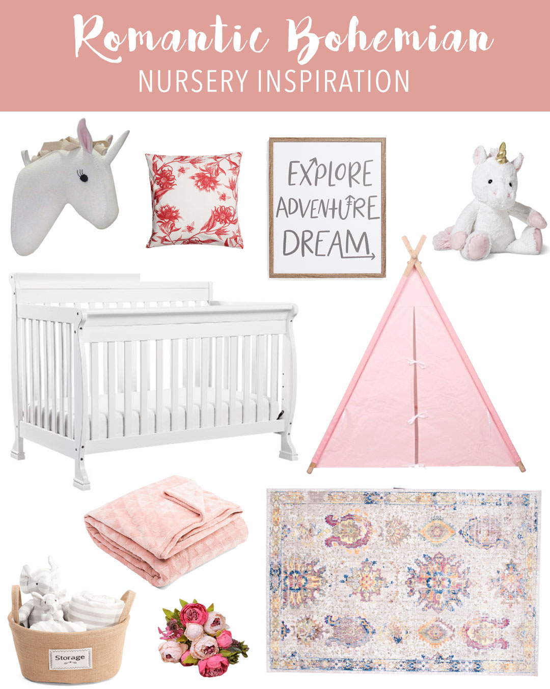 Romantic Bohemian Nursery Inspiration on a Budget