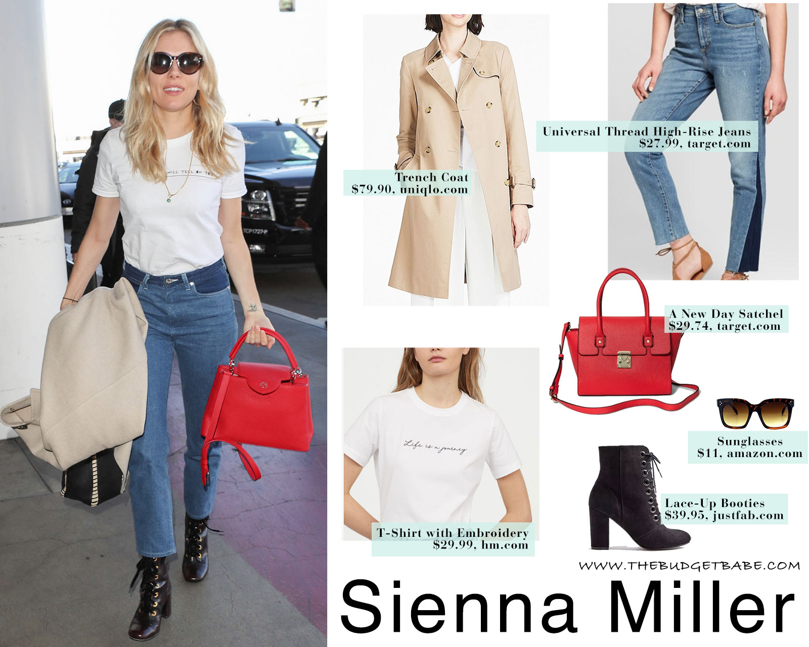 Sienna Miller's white t-shirt, high-rise jeans, black ankle boots and red purse look for less