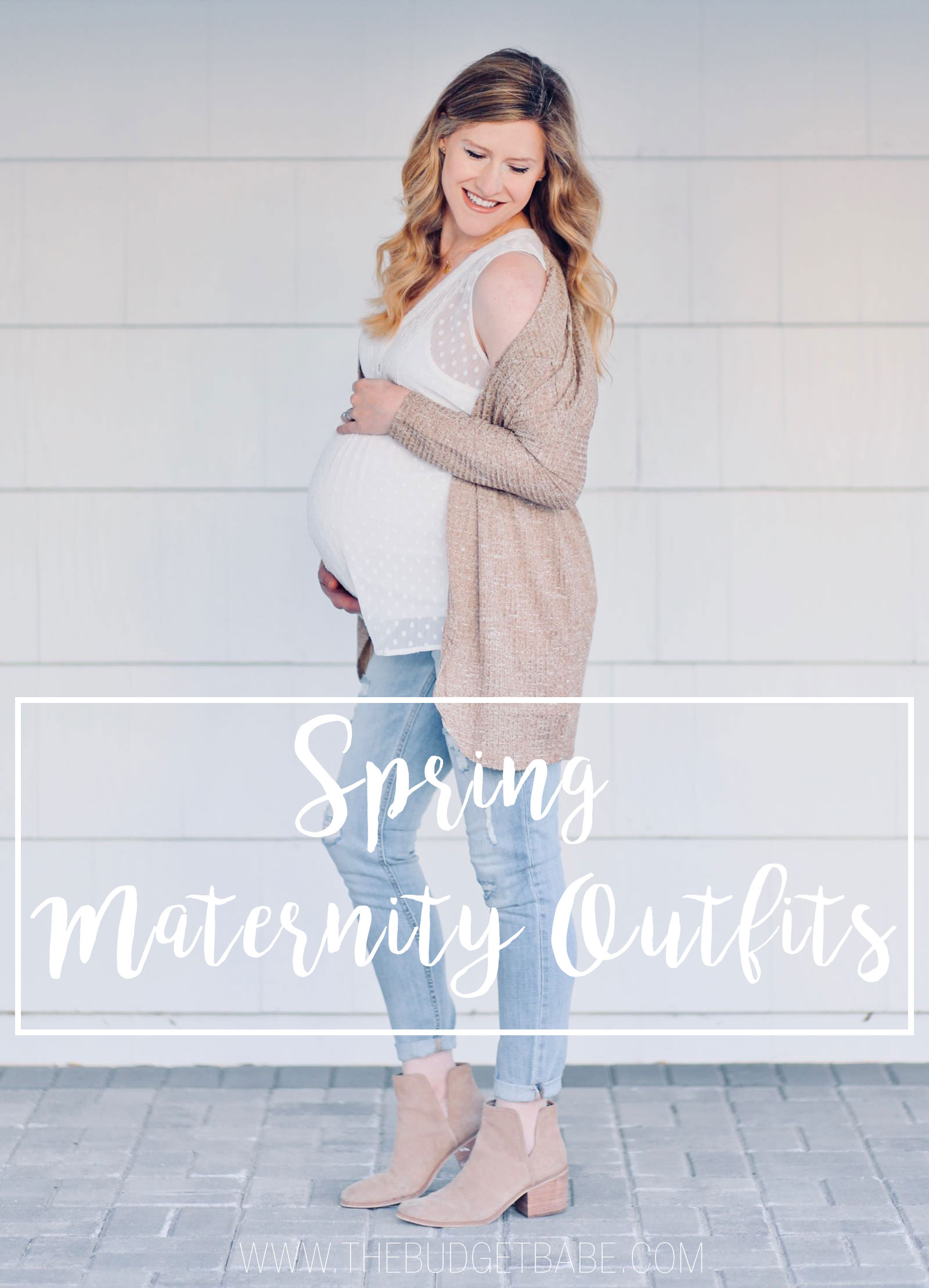 #ad Casual spring outfit idea featuring sleeveless top, distressed jeans and cardigan #40weeksofchic #apeainthepod #motherhoodmaternity #maternityfashion #outfitidea
