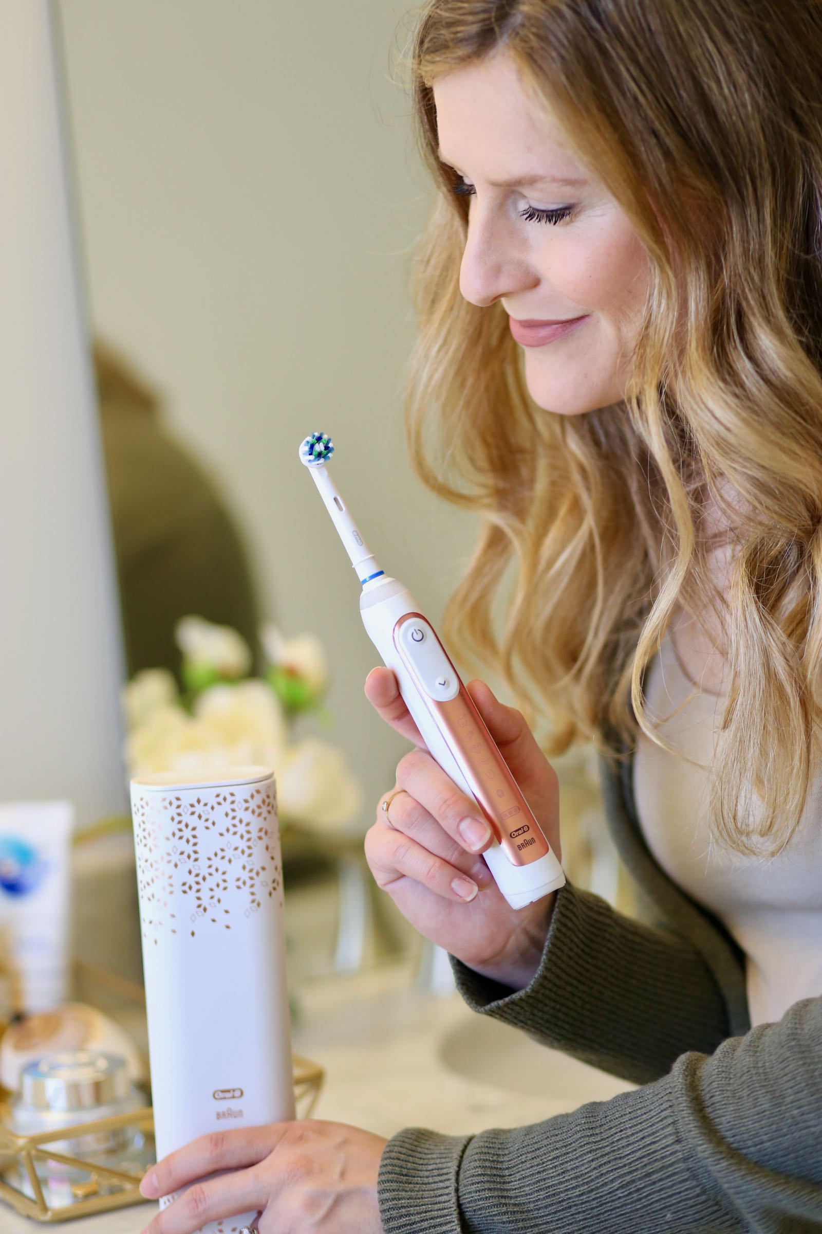 Enter for your chance to win the gorgeous new Oral-B GENIUS Rose Gold 8000 rechargeable toothbrush! TheBudgetBabe.com