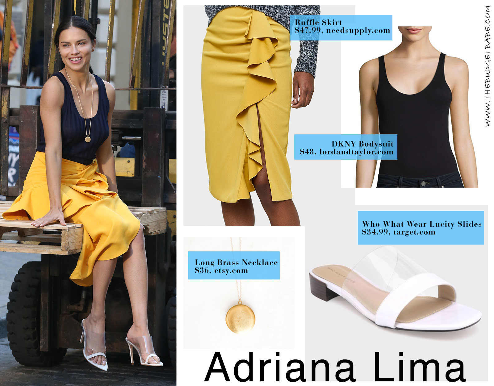 Adriana Lima yellow skirt black bodysuit and transparent slides look for less