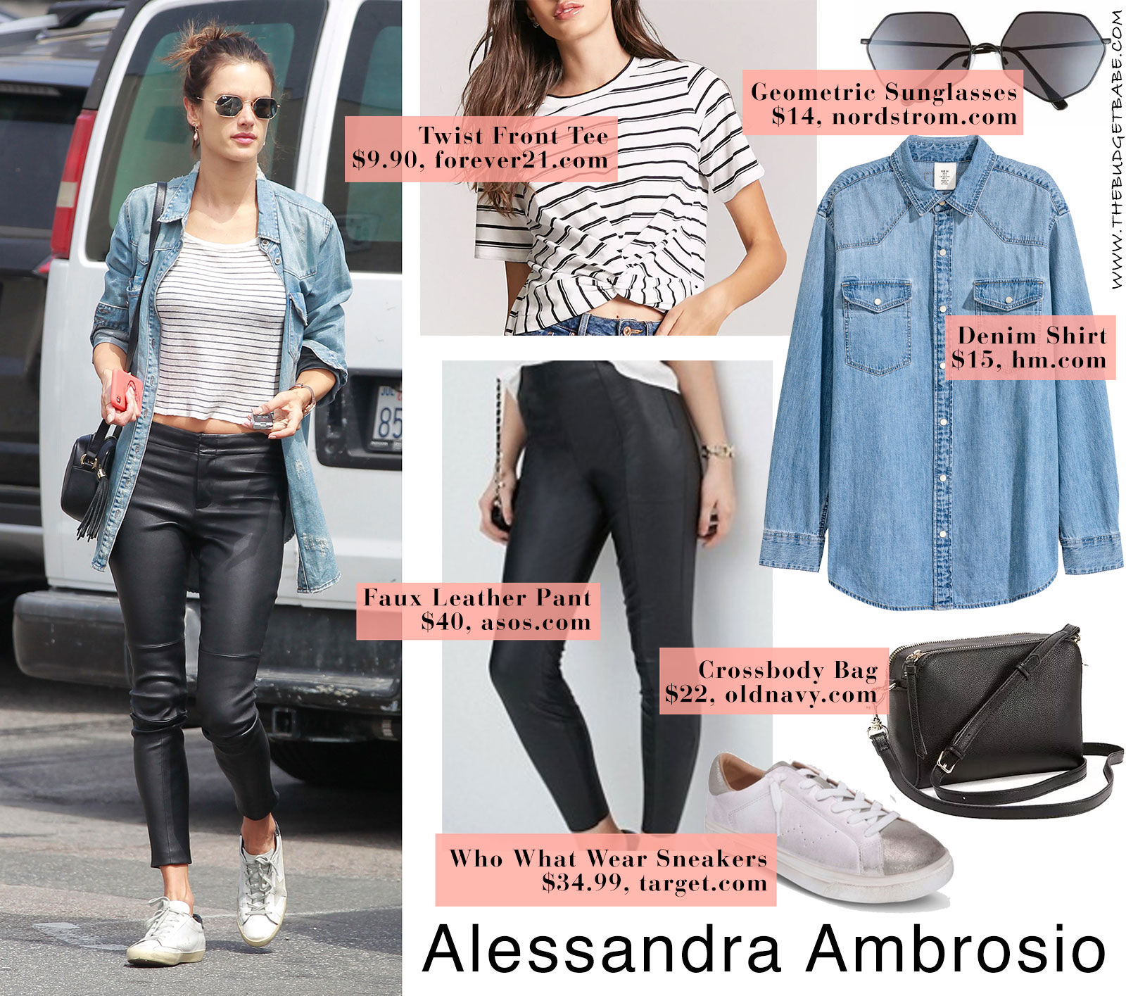 76c22a12031 Alessandra Ambrosio s denim shirt and leather leggings look for less