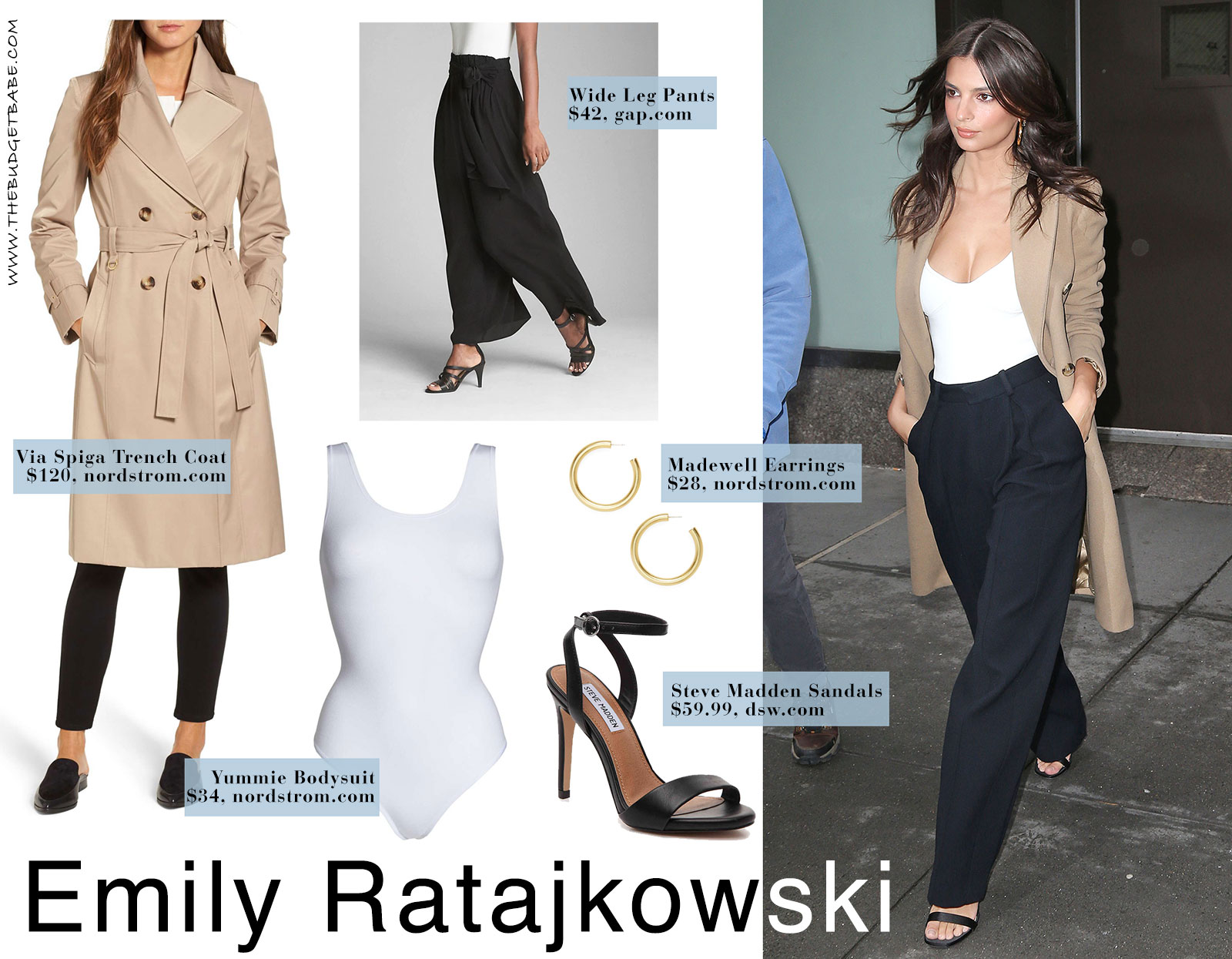 Emily Ratajkowski's white bodysuit, black wide leg pants and trench coat look for less.