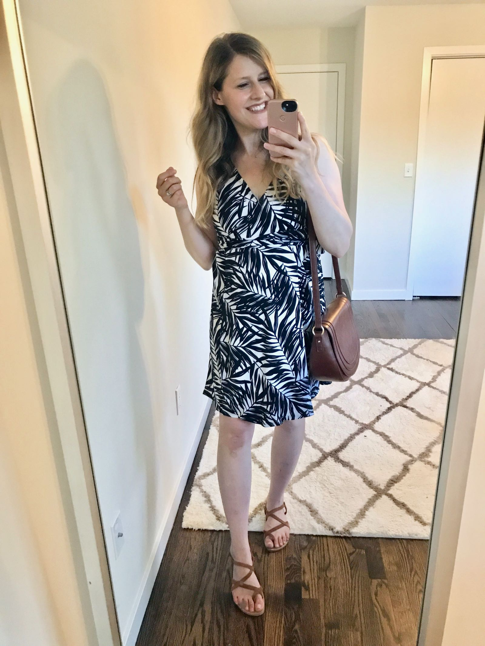 Palm print dress by Everly Grey - maternity and breastfeeding friendly!